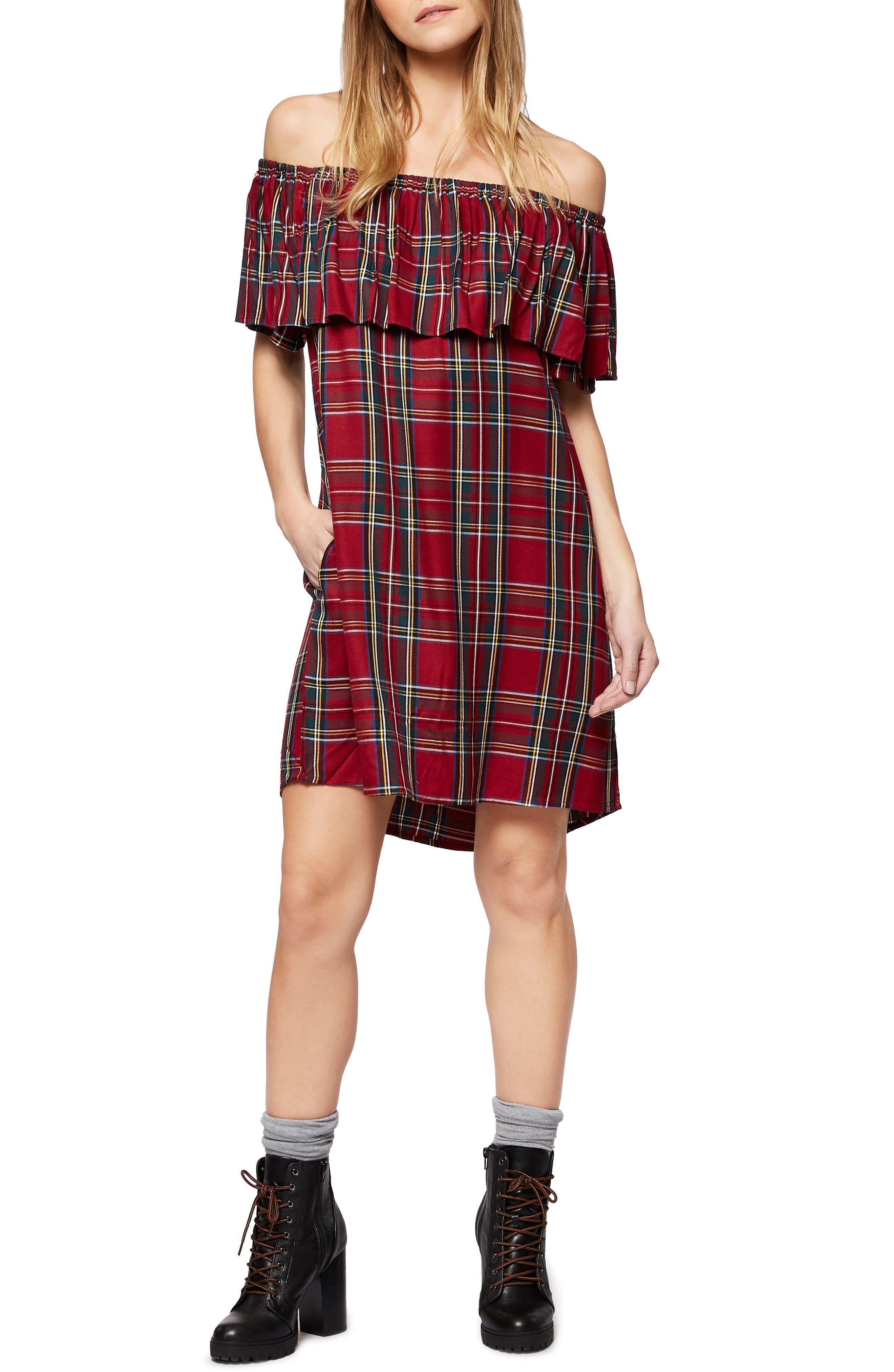 Stella Plaid Off the Shoulder Dress,                         Main,                         color, Tartan Cable