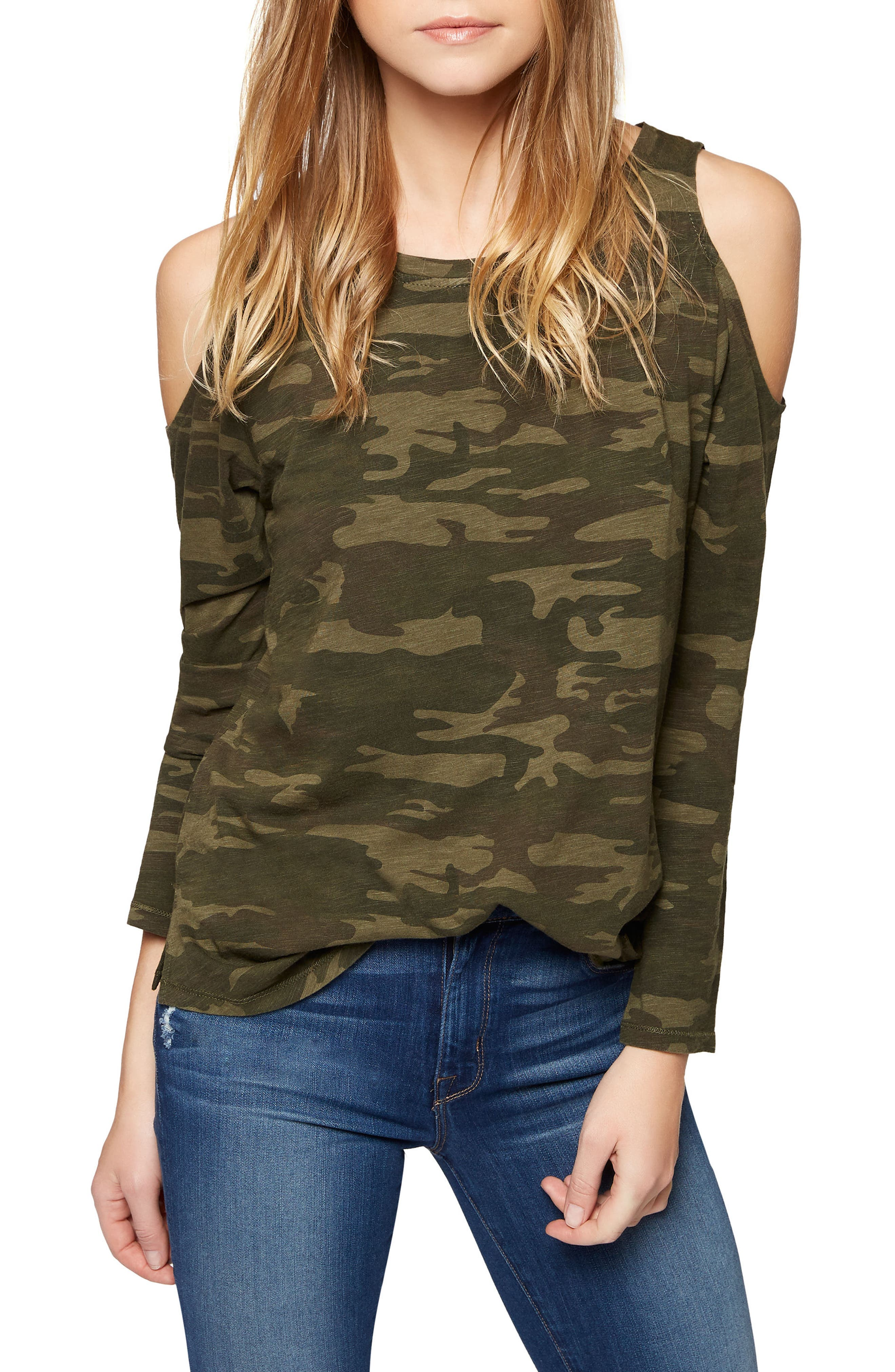 Main Image - Sanctuary Lolita Cold Shoulder Camo Tee (Regular & Petite)