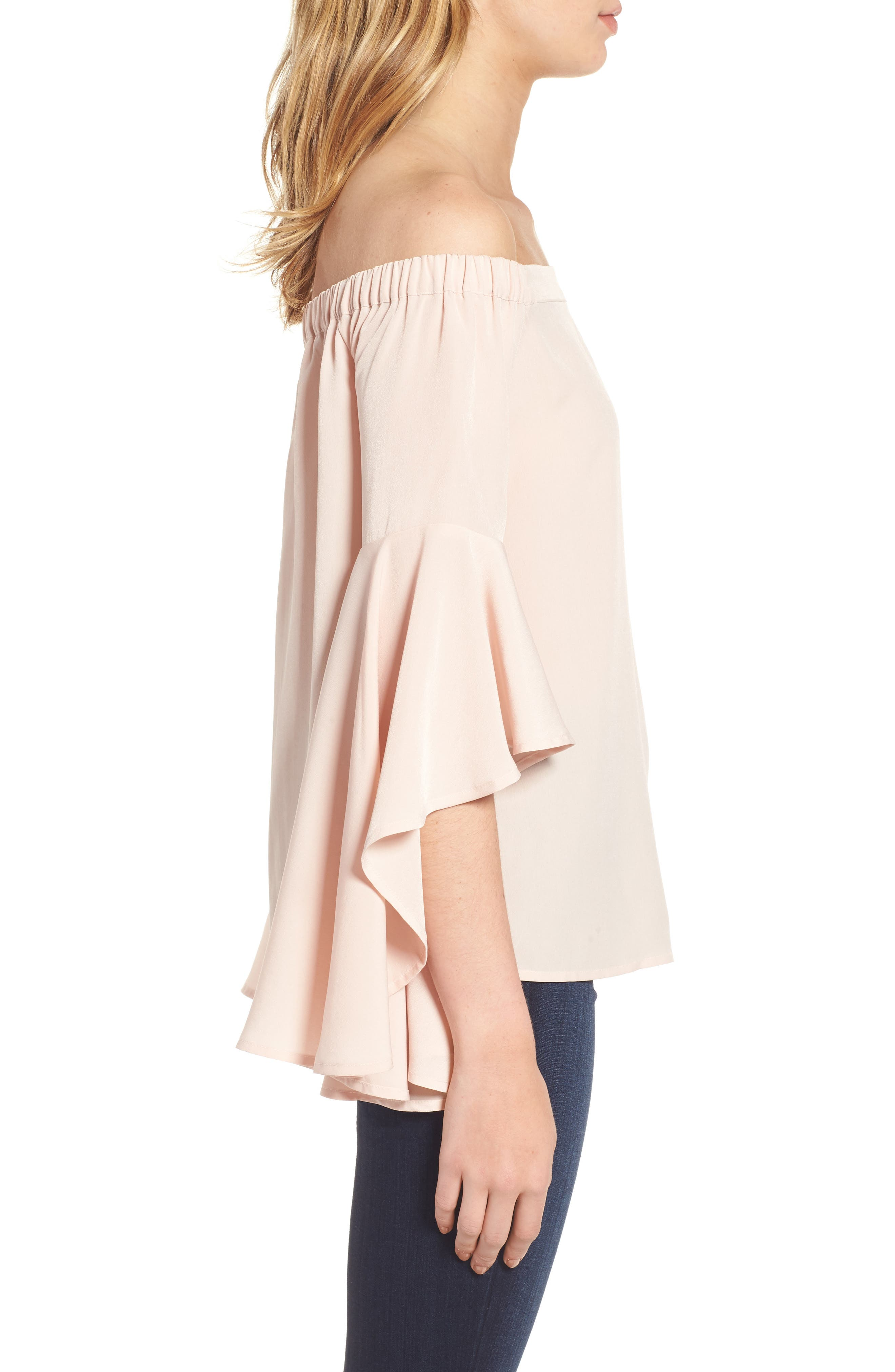 Bell Sleeve Off the Shoulder Top,                             Alternate thumbnail 3, color,                             Pink Hero