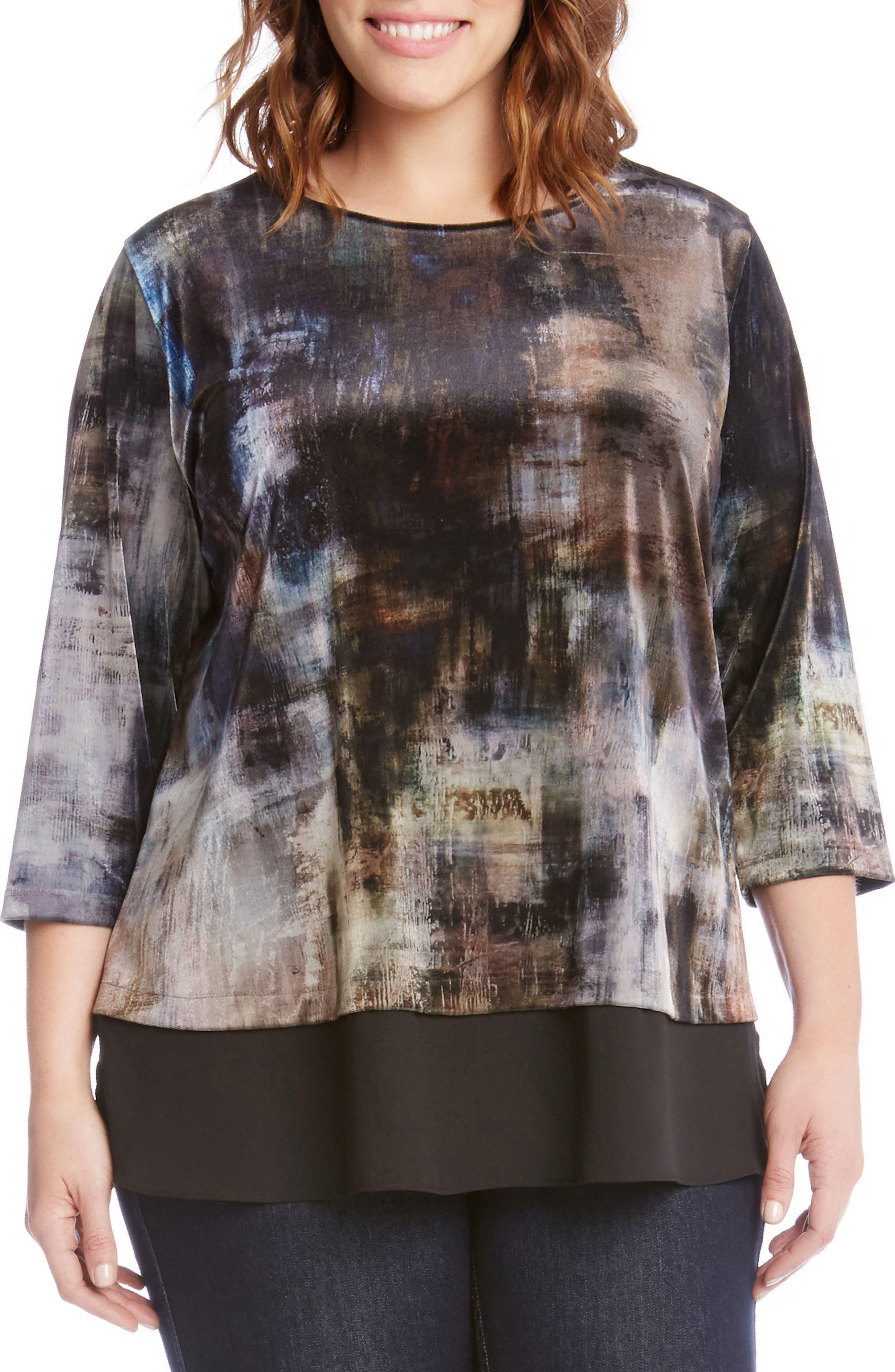 Karen Kane Contrast Hem Print Velvet Top (Plus Size)