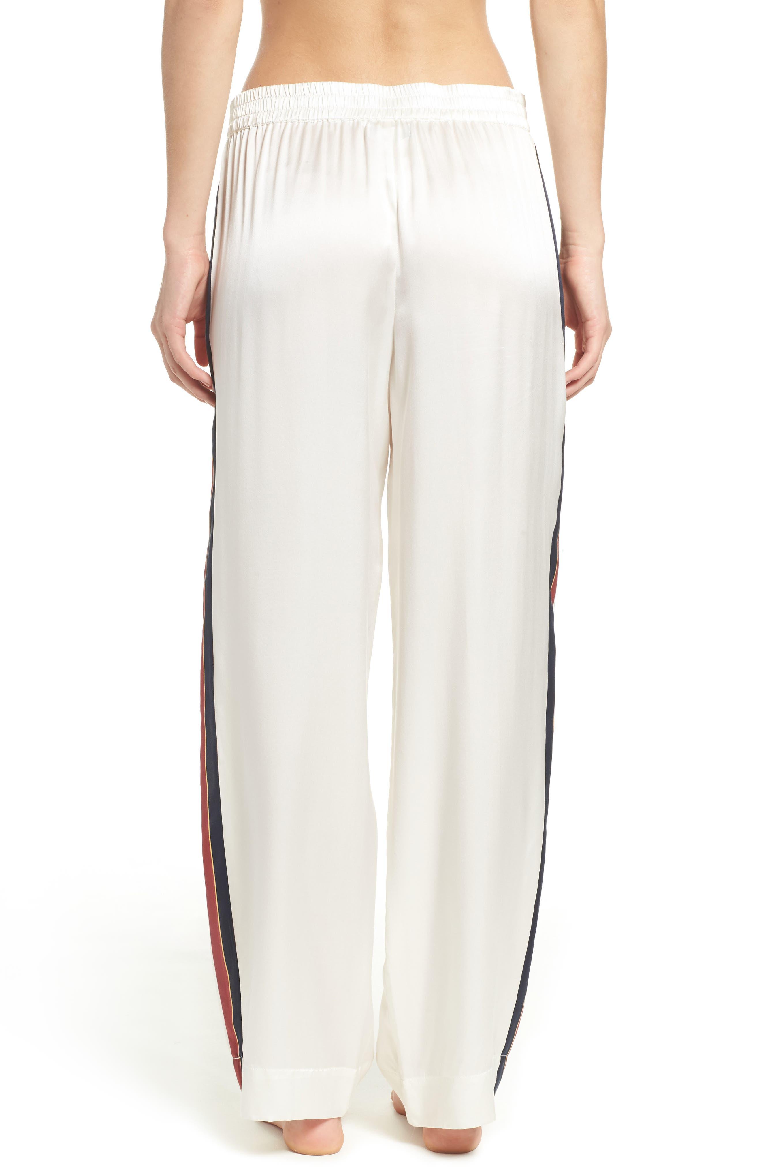 Alternate Image 2  - Asceno by Beautiful Bottoms Side Stripe Silk Pajama Pants