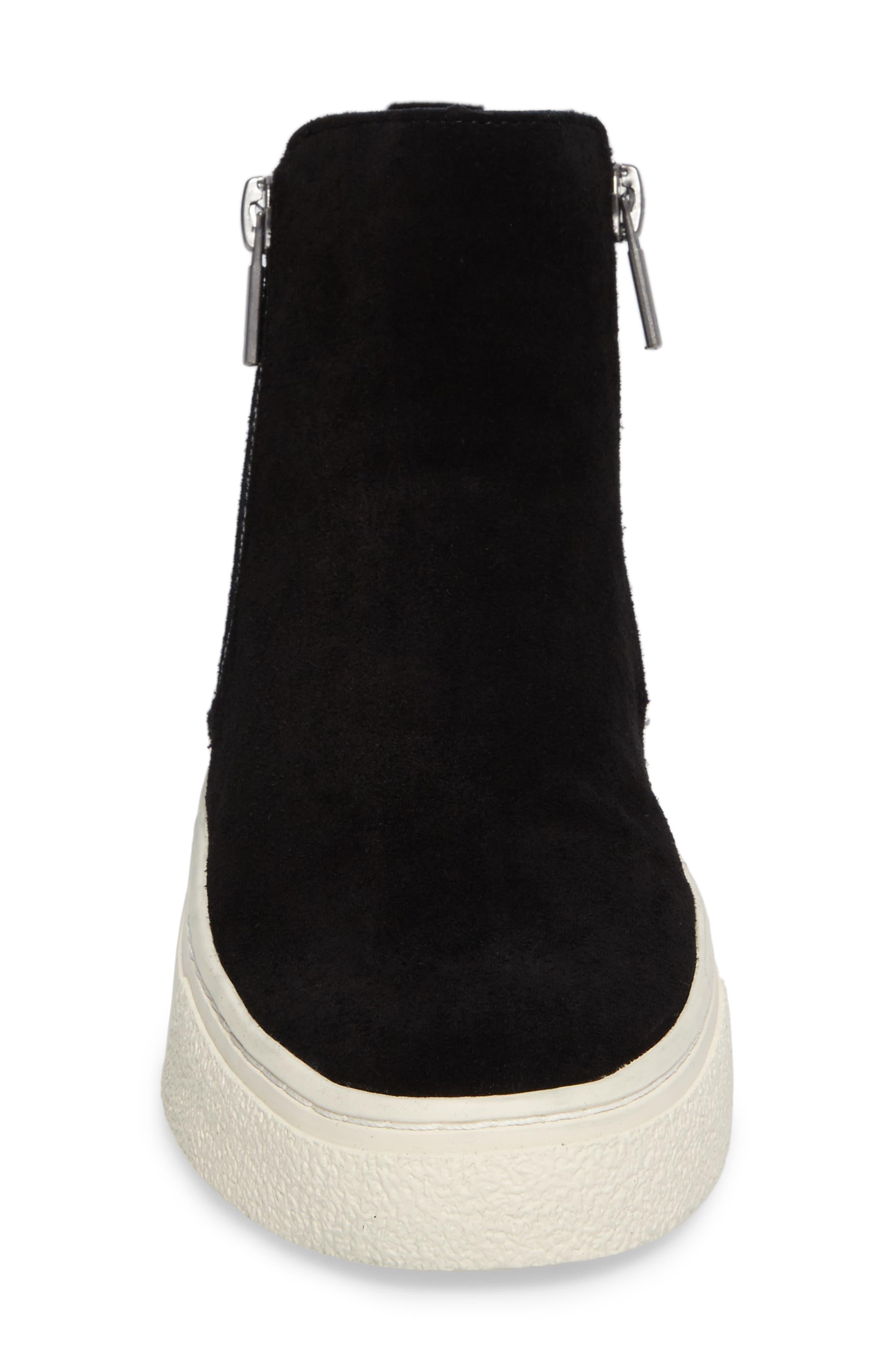 Bayleah High Top Sneaker,                             Alternate thumbnail 4, color,                             Black Suede