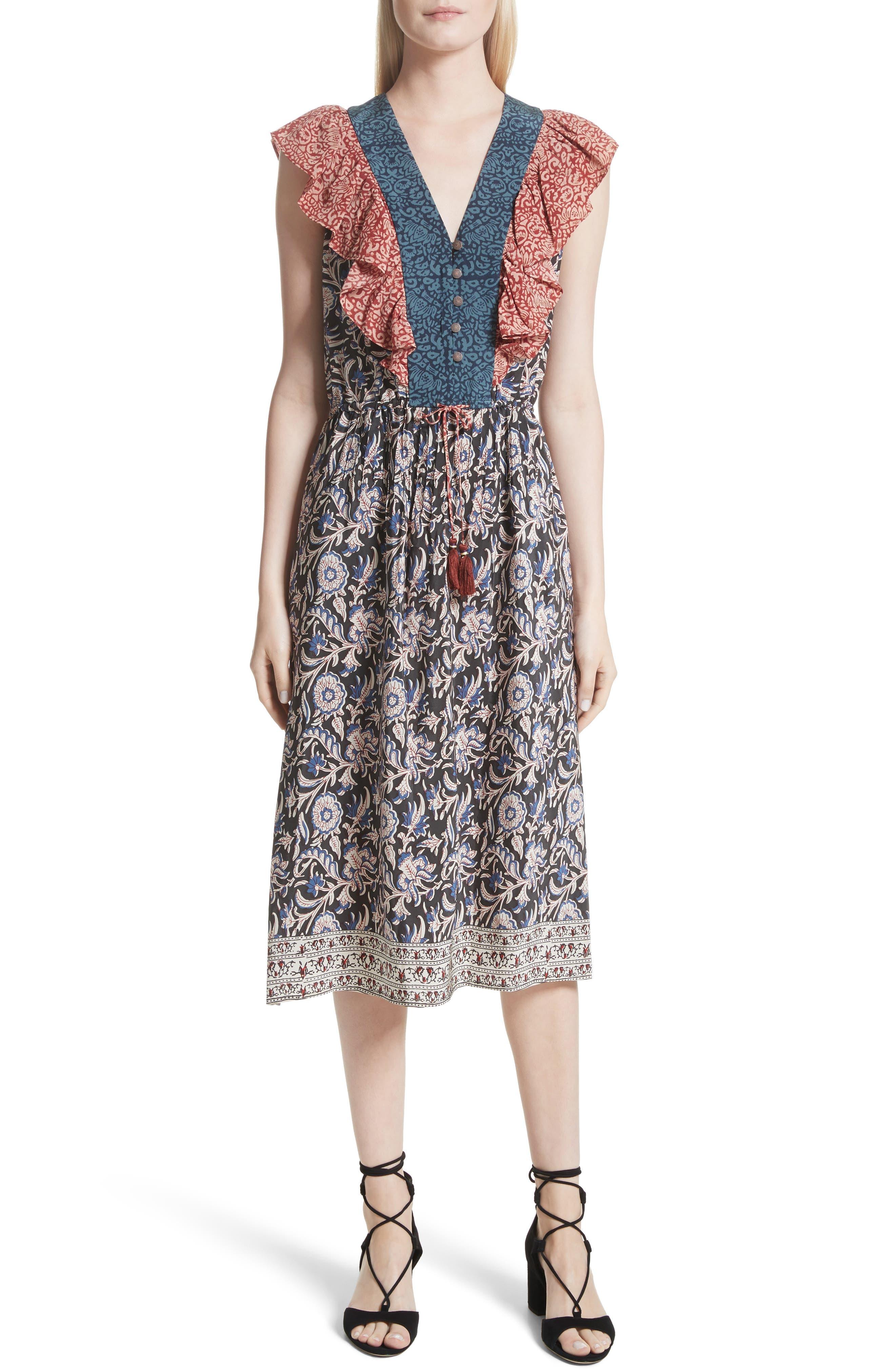 Mixed Print Silk Flutter Dress,                         Main,                         color, Multi/ Mix Print