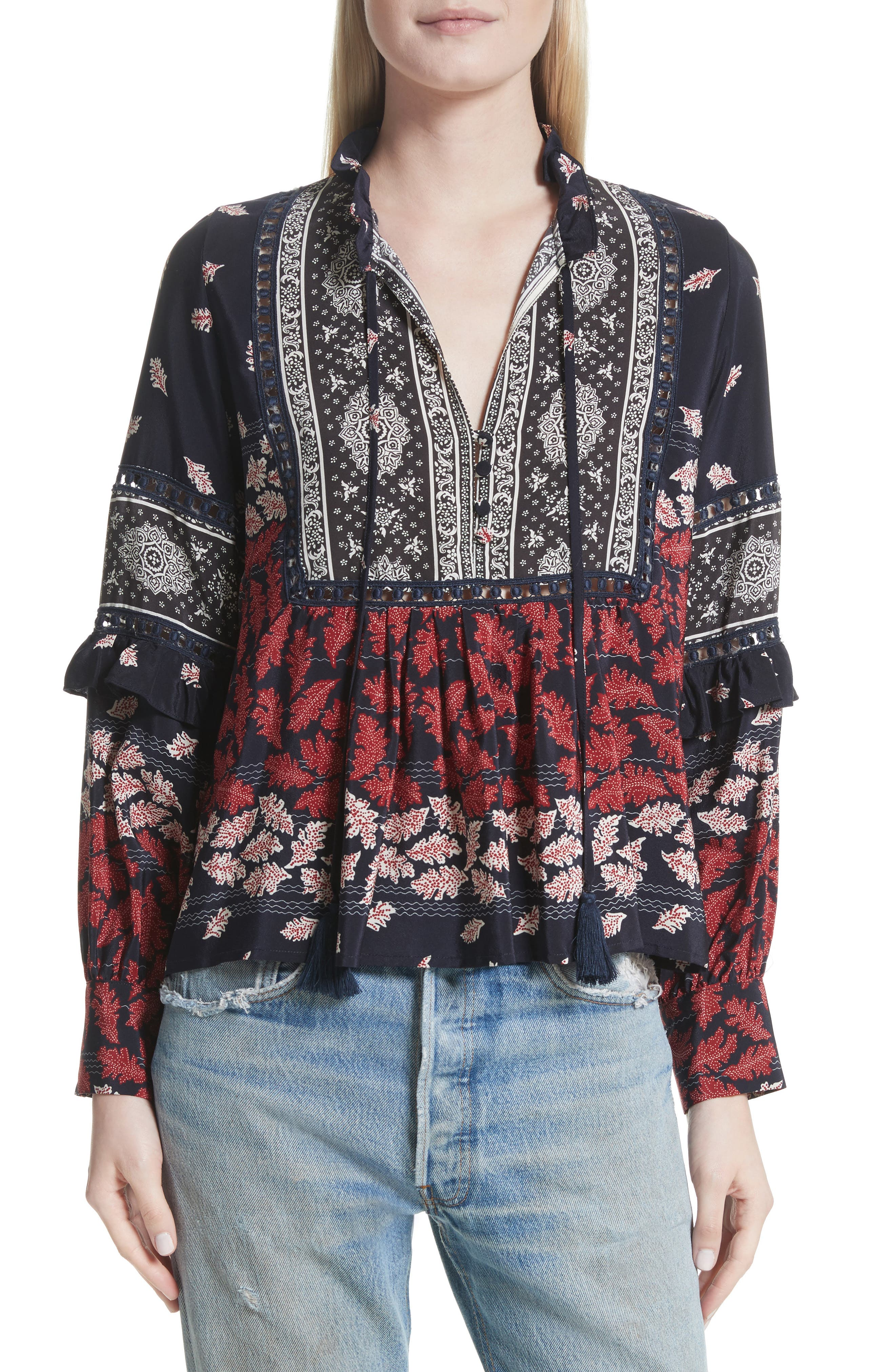 Eloise Print Silk Blouse,                         Main,                         color, Navy/ Red/ Cream Multi