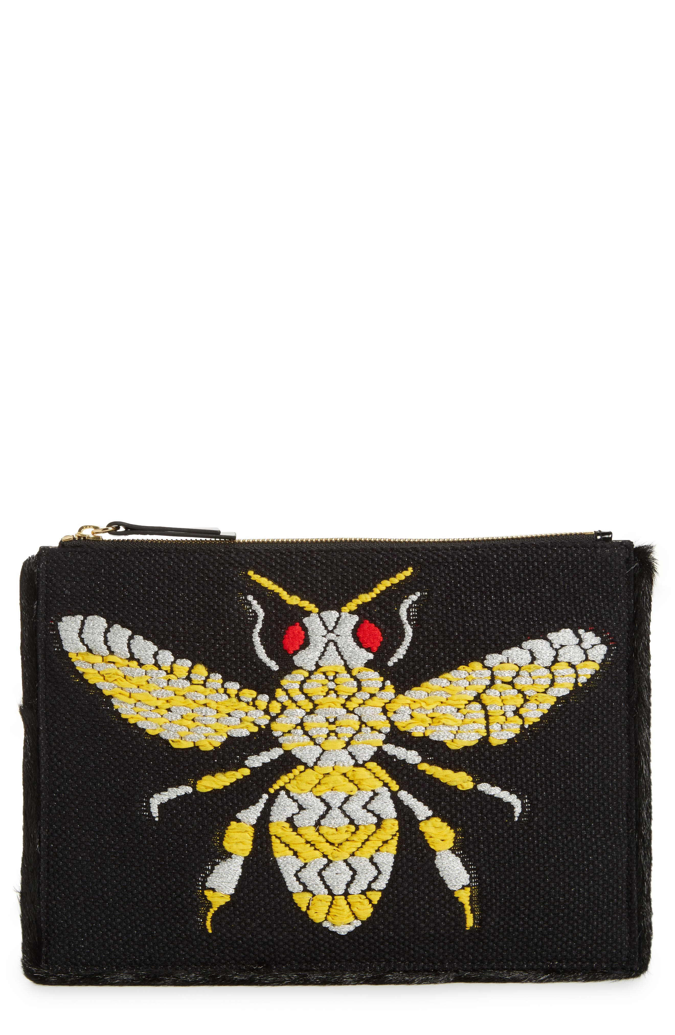 Frances Valentine Large Bee Leather Clutch