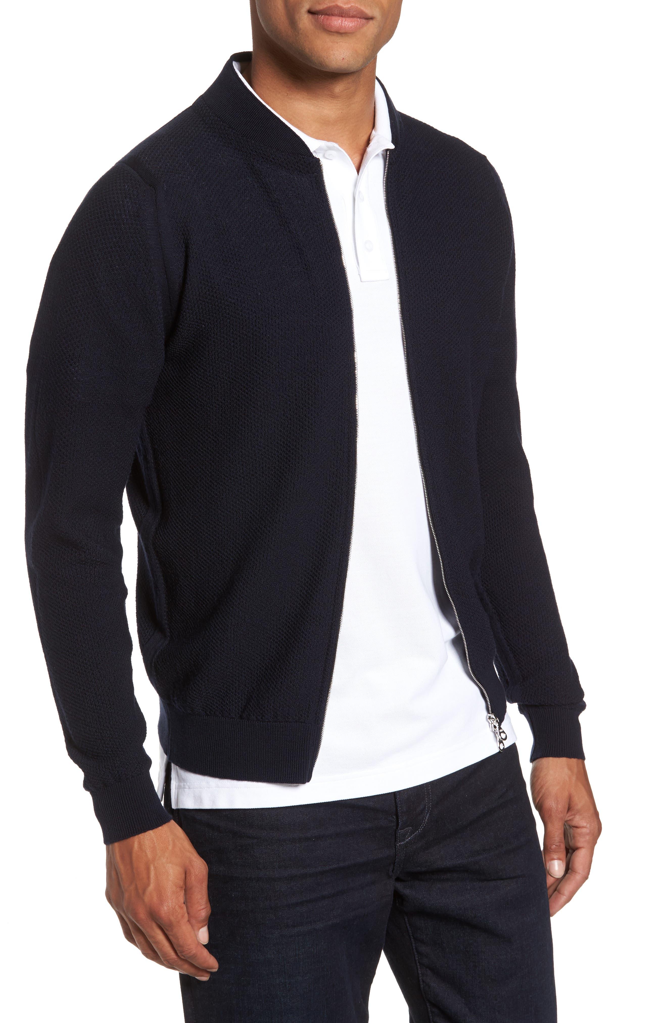 Standard Fit Merino Wool Knit Jacket,                         Main,                         color, Midnight