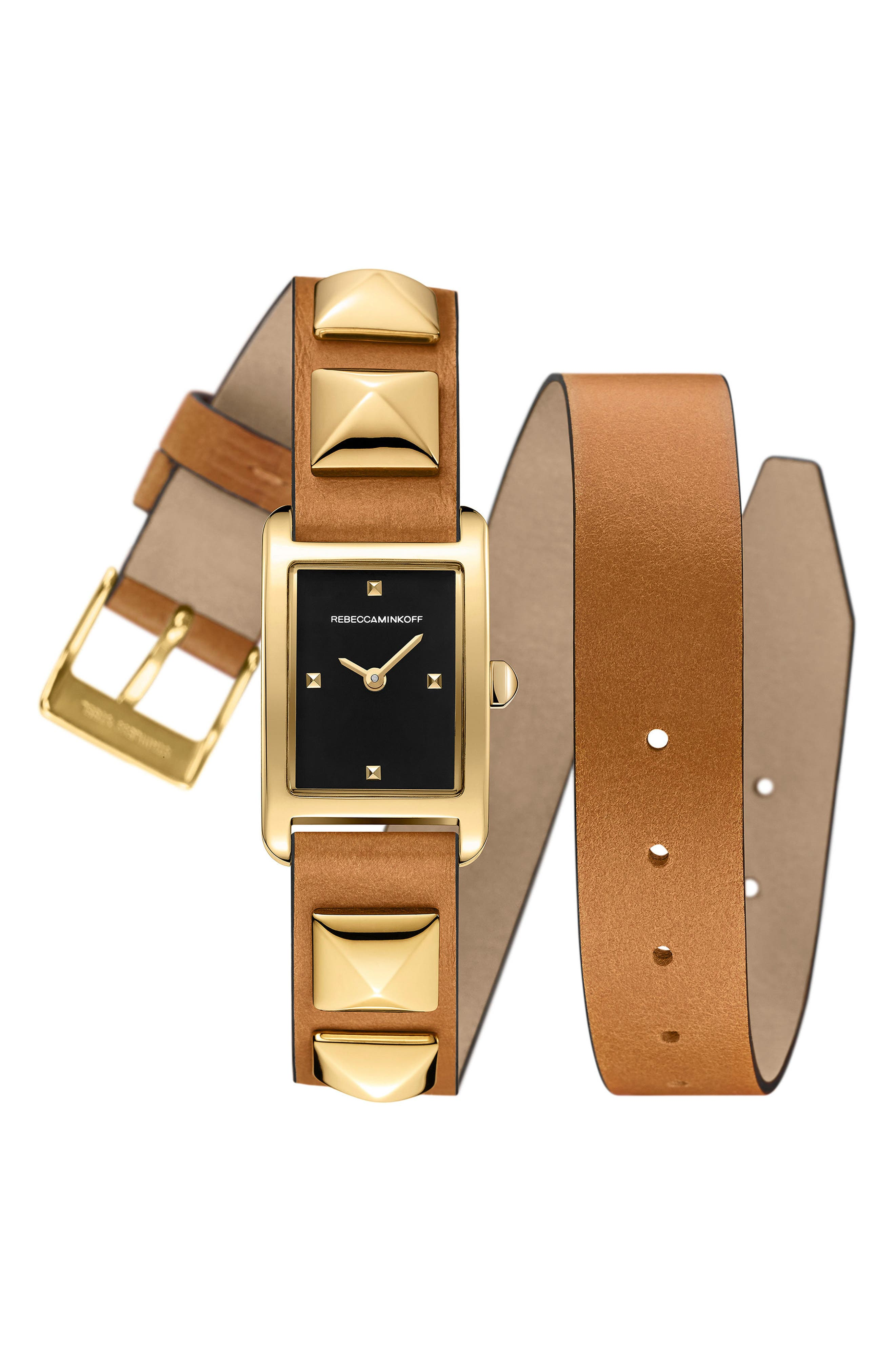 Wrap Leather Strap Watch, 19mm x 30mm,                         Main,                         color, Almond/ Black/ Gold
