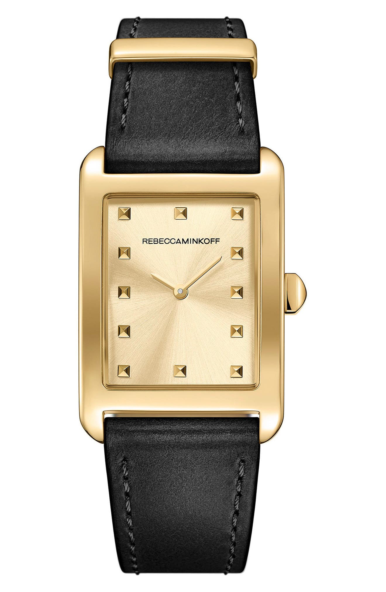 Moment Leather Strap Watch, 27mm x 39mm,                         Main,                         color, Black/ Gold
