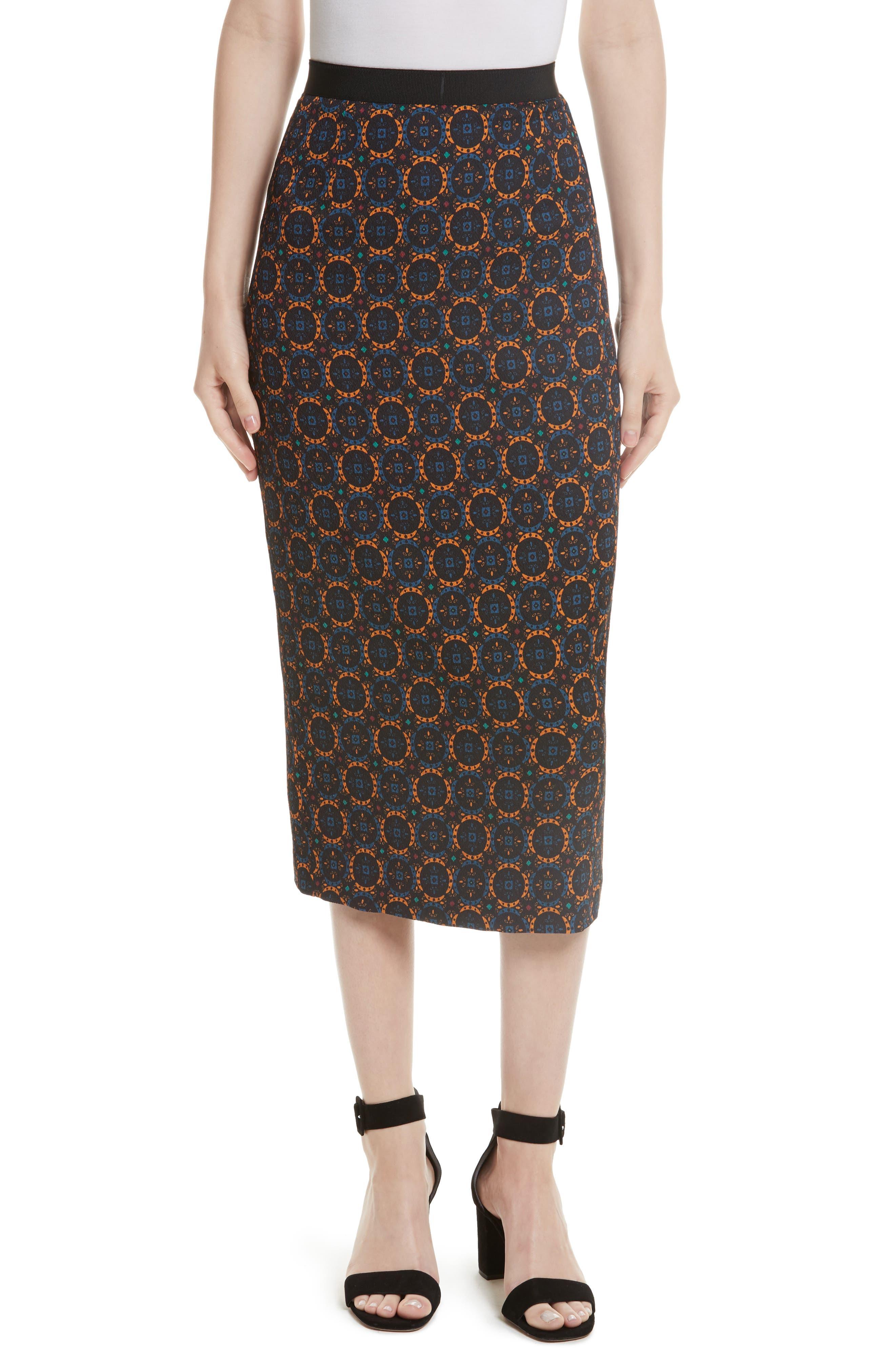 Print Stretch Silk Pencil Skirt,                             Main thumbnail 1, color,                             Foulard Placement