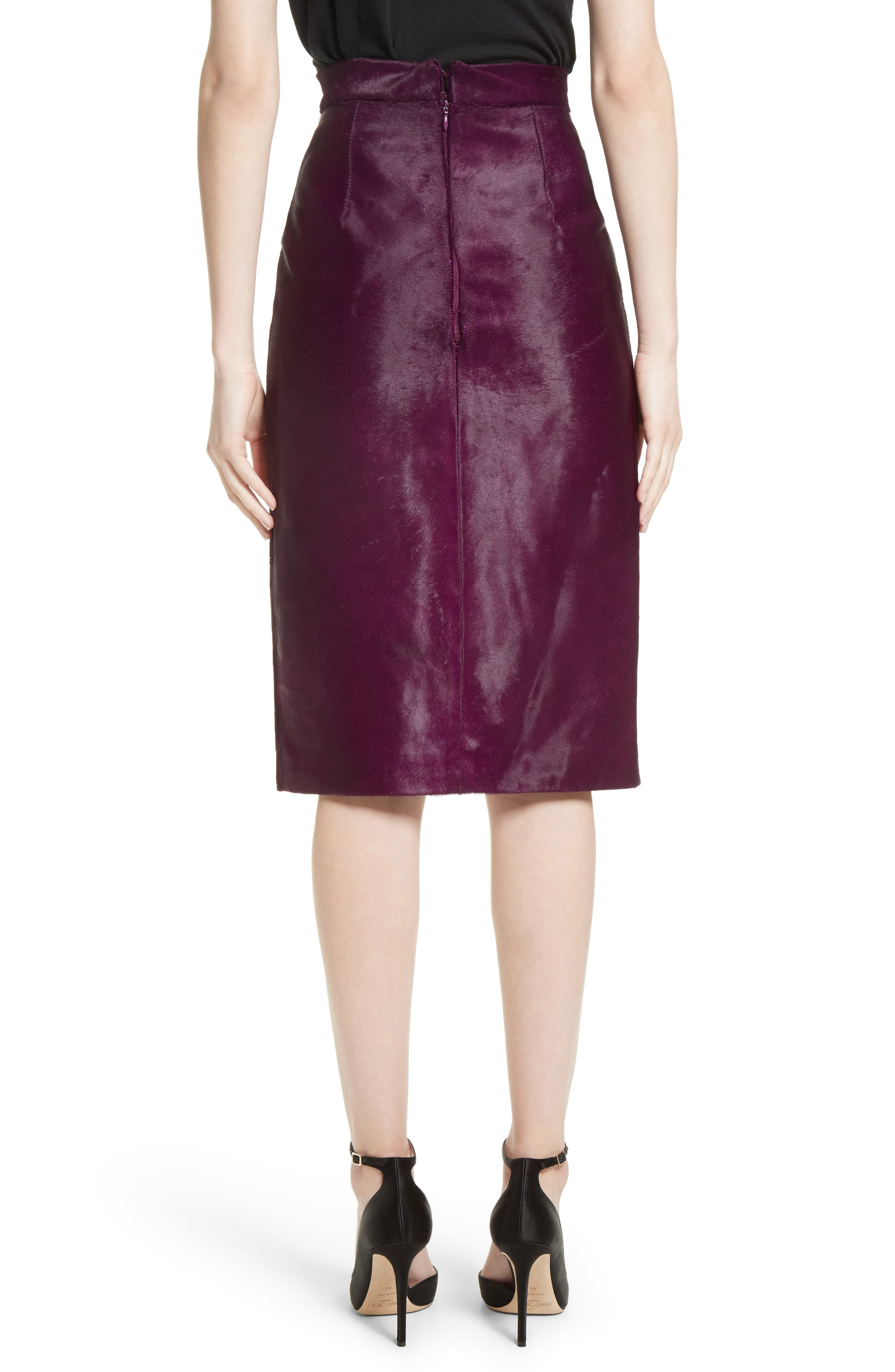 Genuine Calf Hair Pencil Skirt,                             Alternate thumbnail 3, color,                             Purple