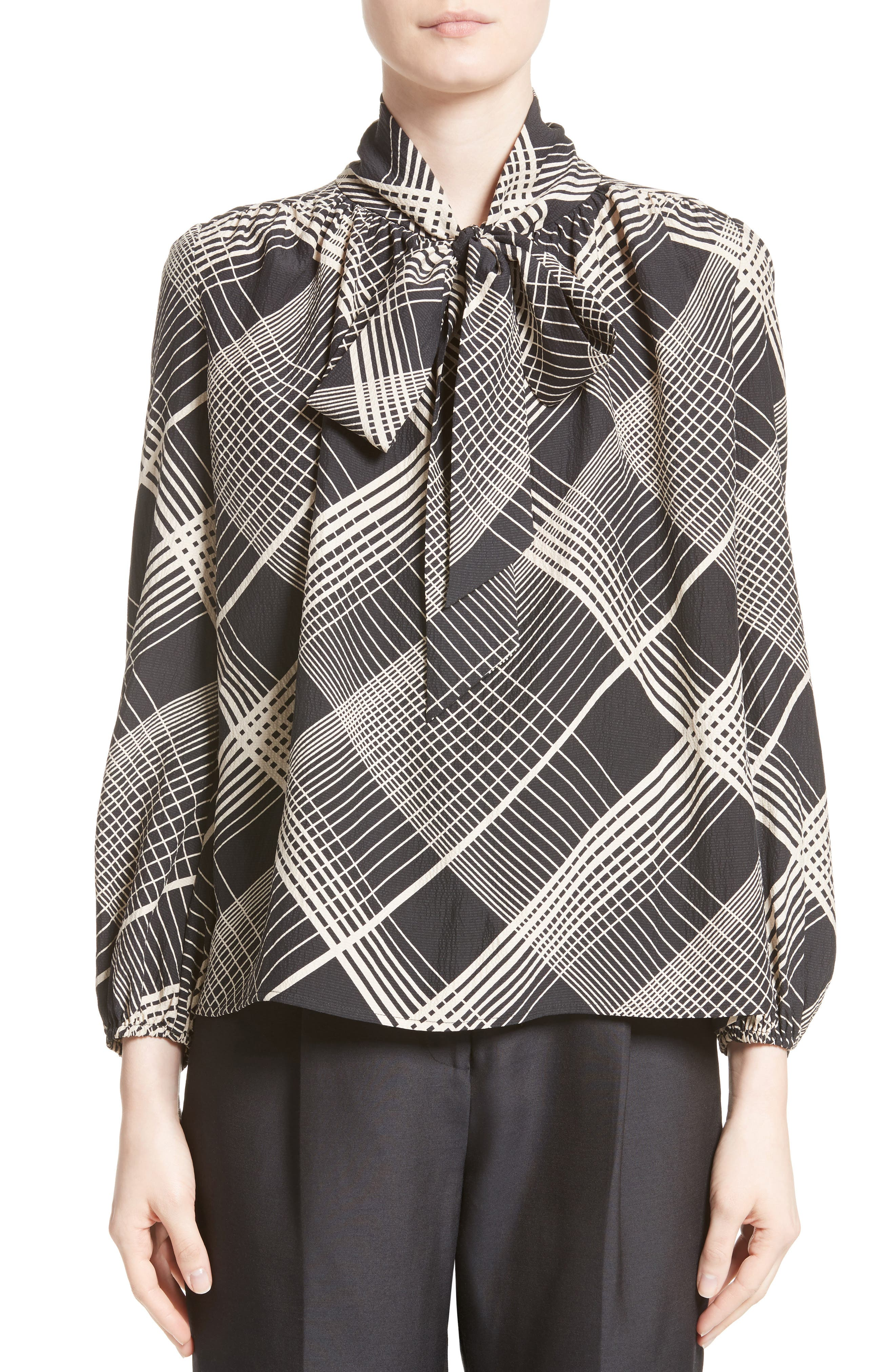 Plaid Silk Tie Neck Blouse,                             Main thumbnail 1, color,                             Black/ White Plaid