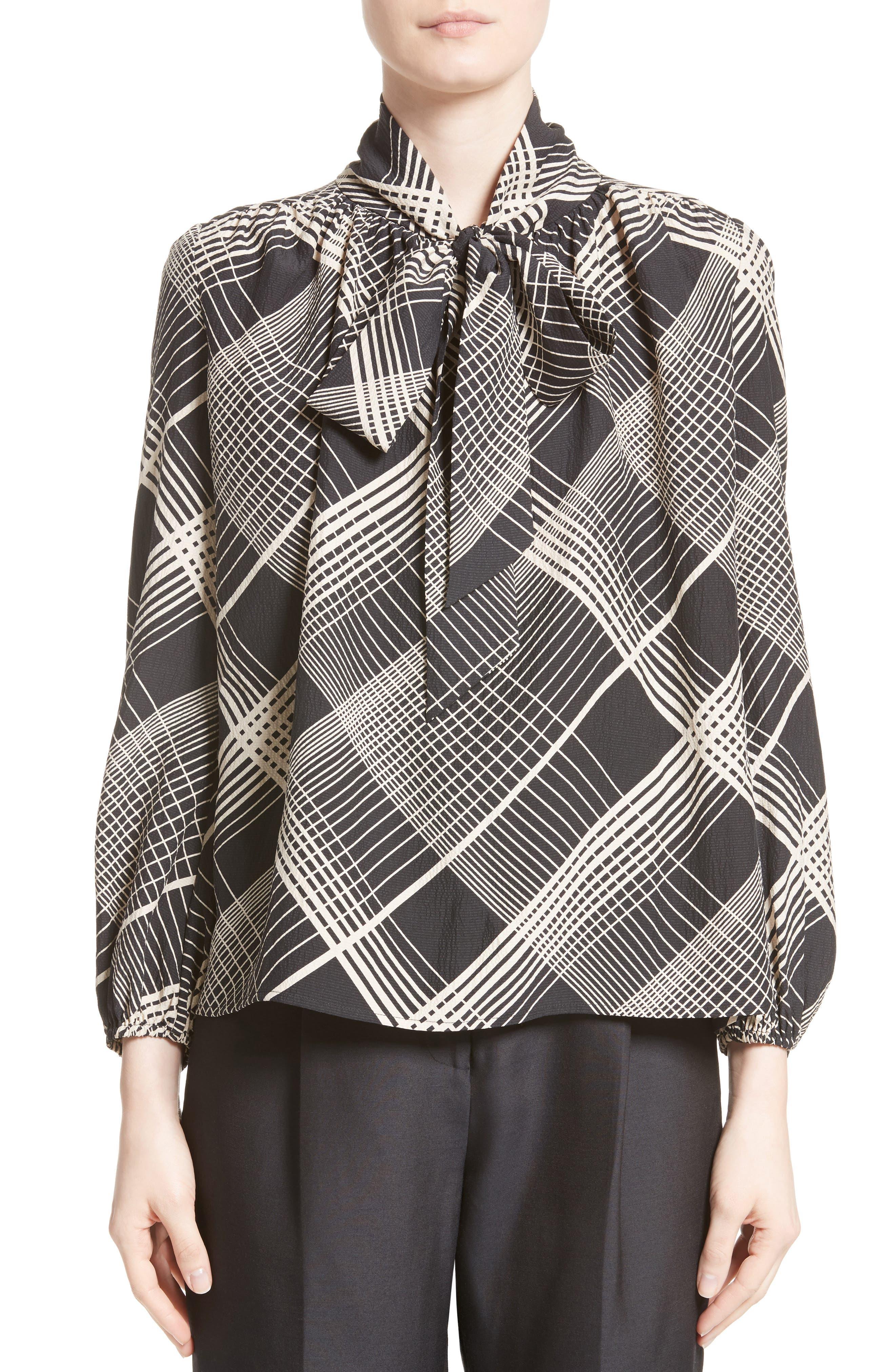 Main Image - Co Plaid Silk Tie Neck Blouse
