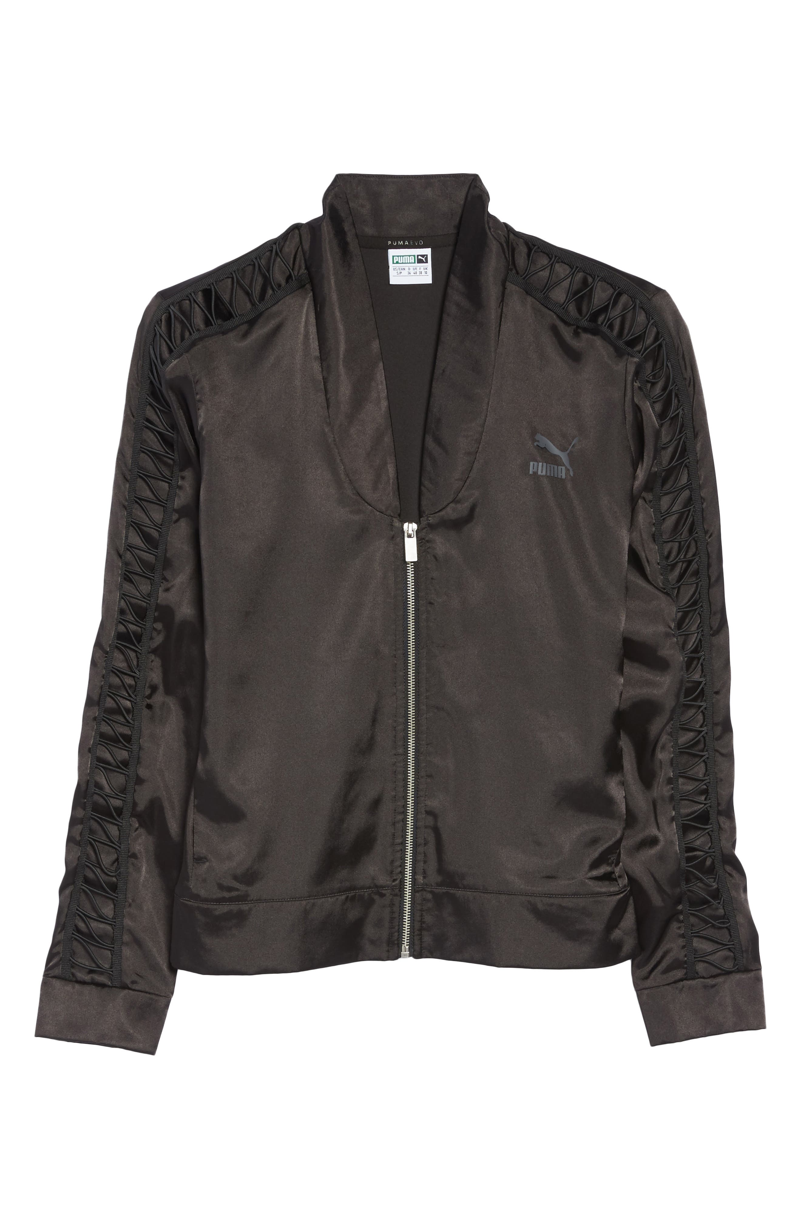 Satin Track Jacket,                             Alternate thumbnail 7, color,                             Puma Black