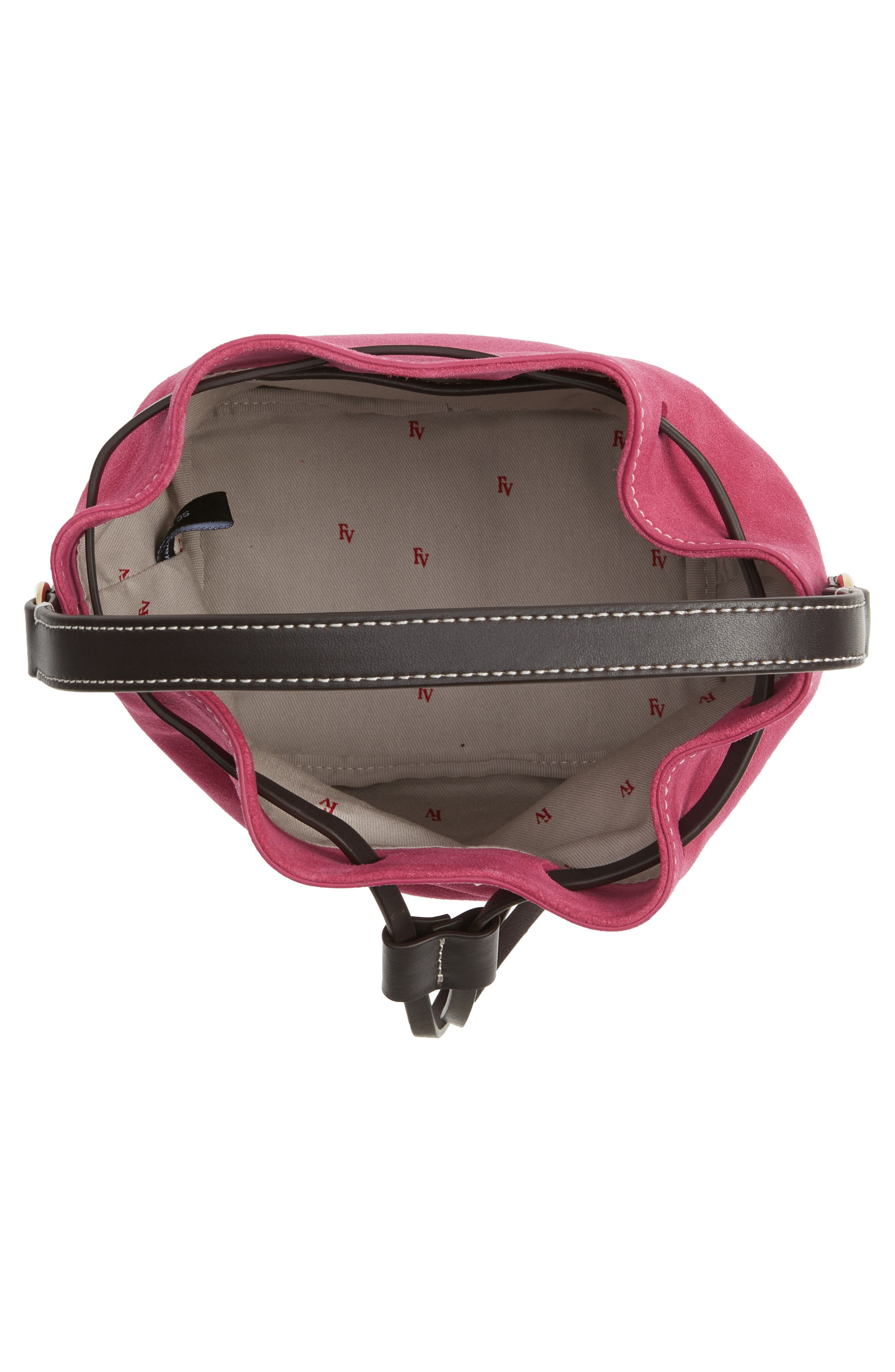 Ann Small Suede Bucket,                             Alternate thumbnail 4, color,                             Pink