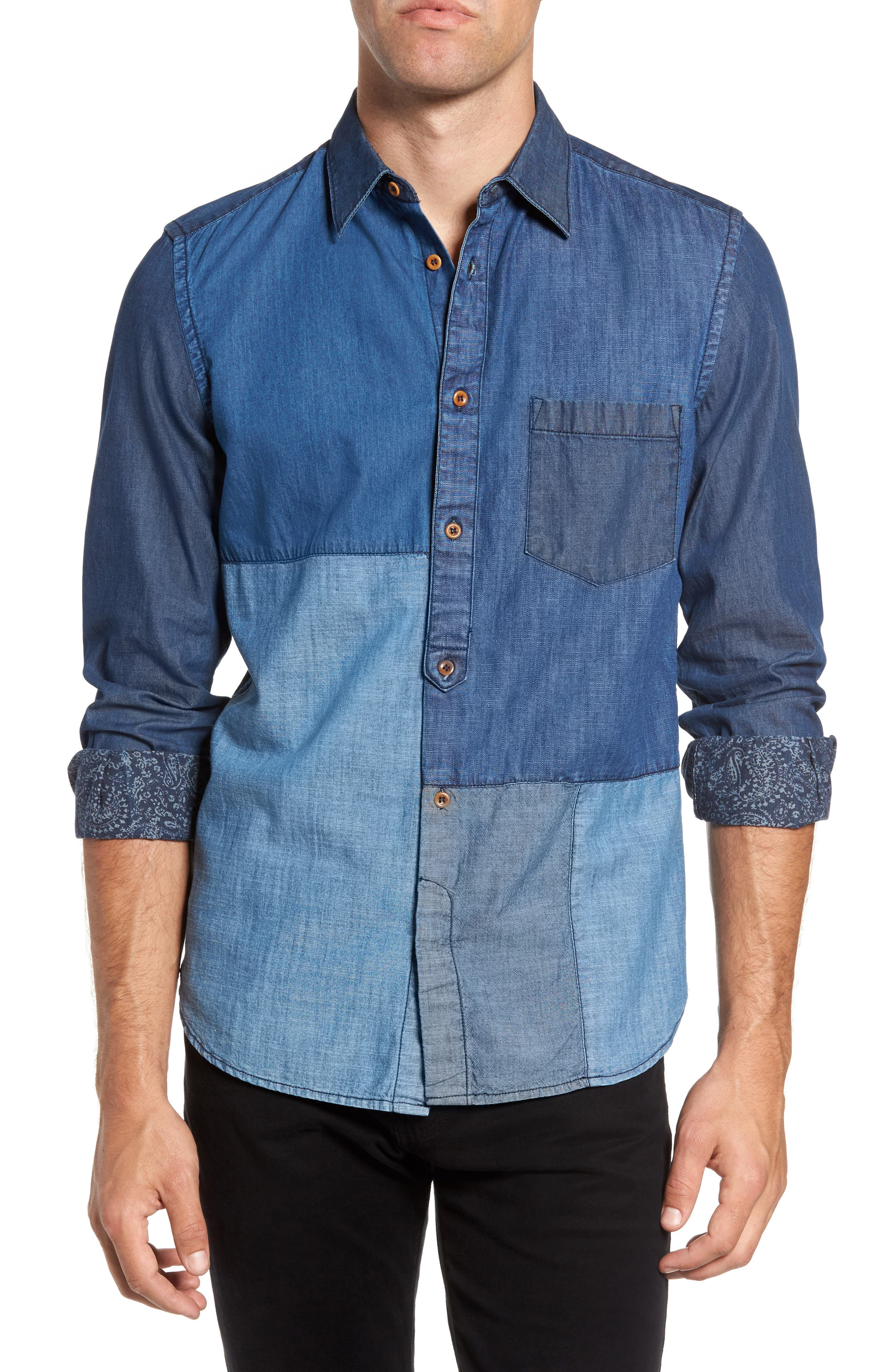 French Connection Antique Patchwork Sport Shirt
