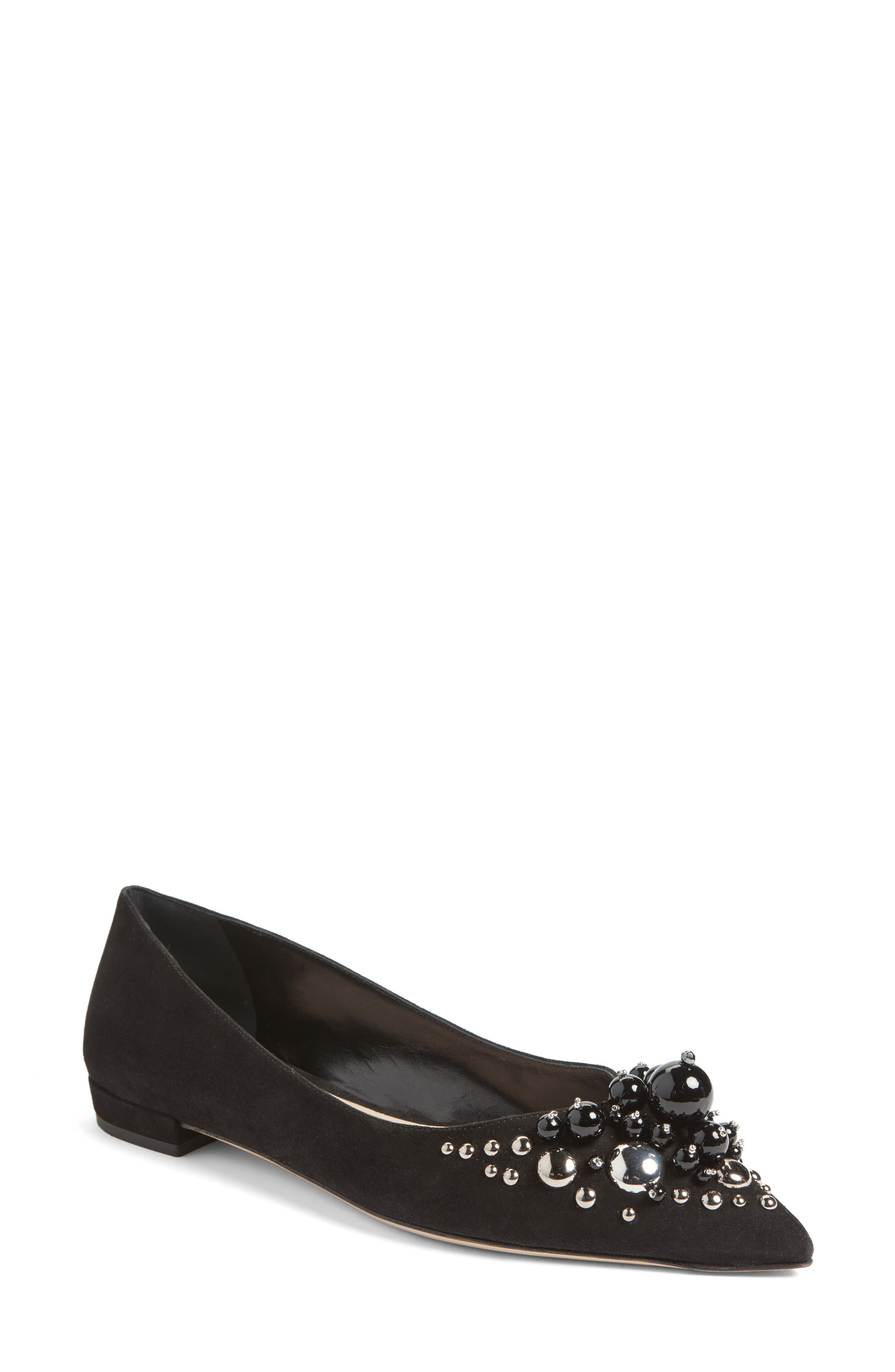 Embellished Pointy Toe Flat,                             Main thumbnail 1, color,                             Black Suede