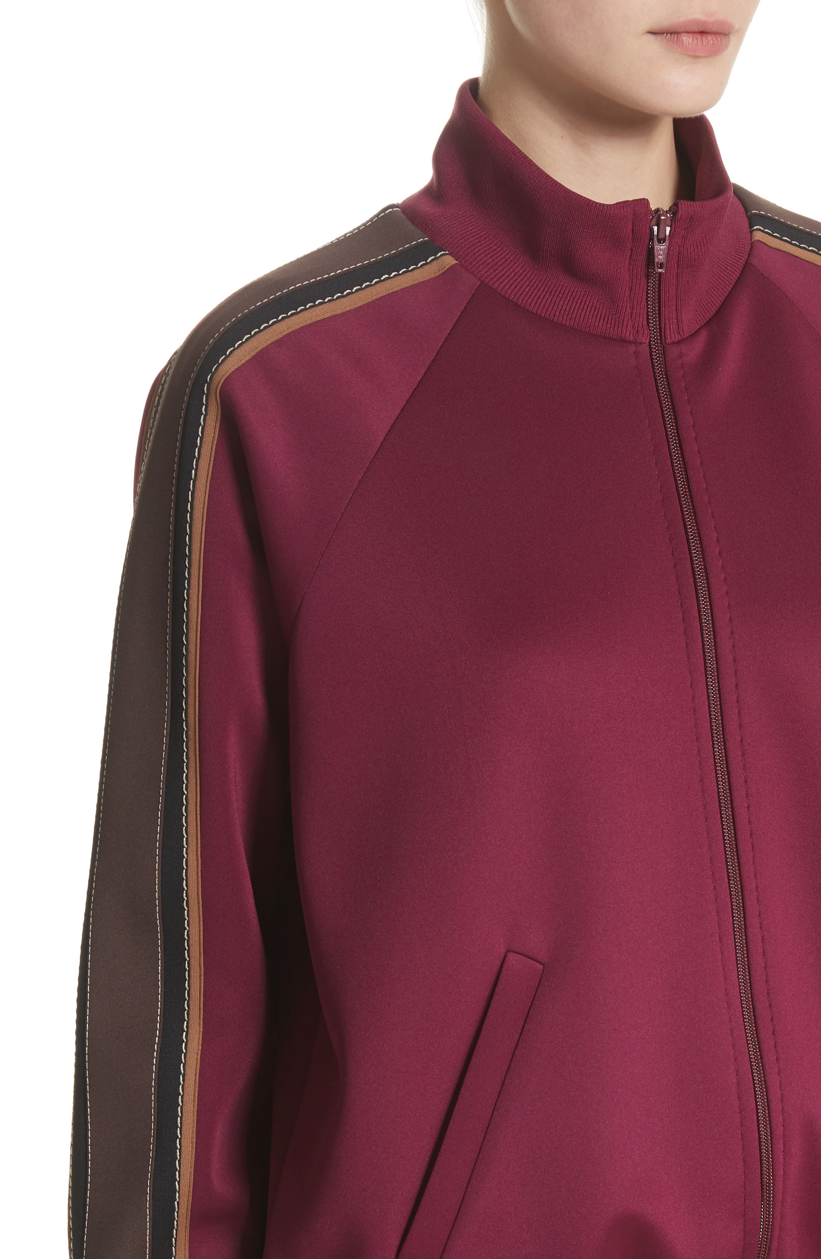 Zip Jersey Track Jacket,                             Alternate thumbnail 3, color,                             Burgundy Multi