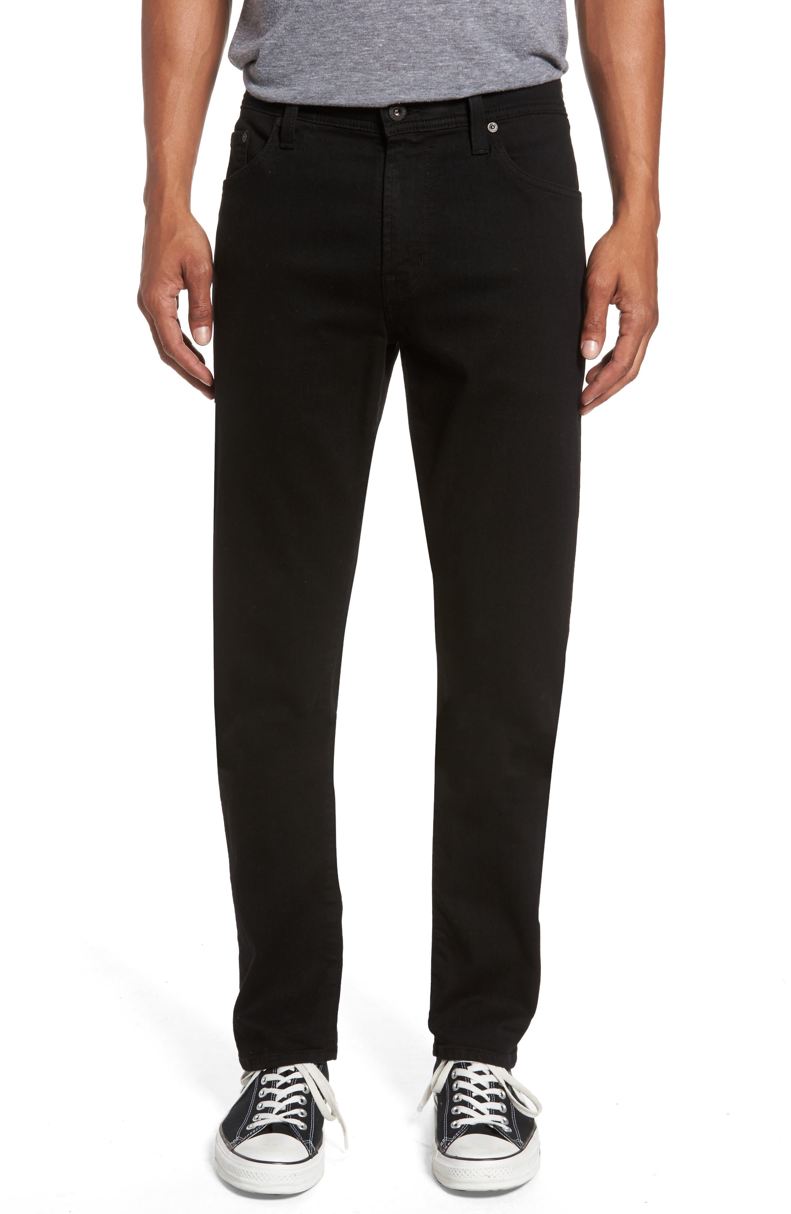 AG Everett Slim Straight Fit Jeans (Black Soot)