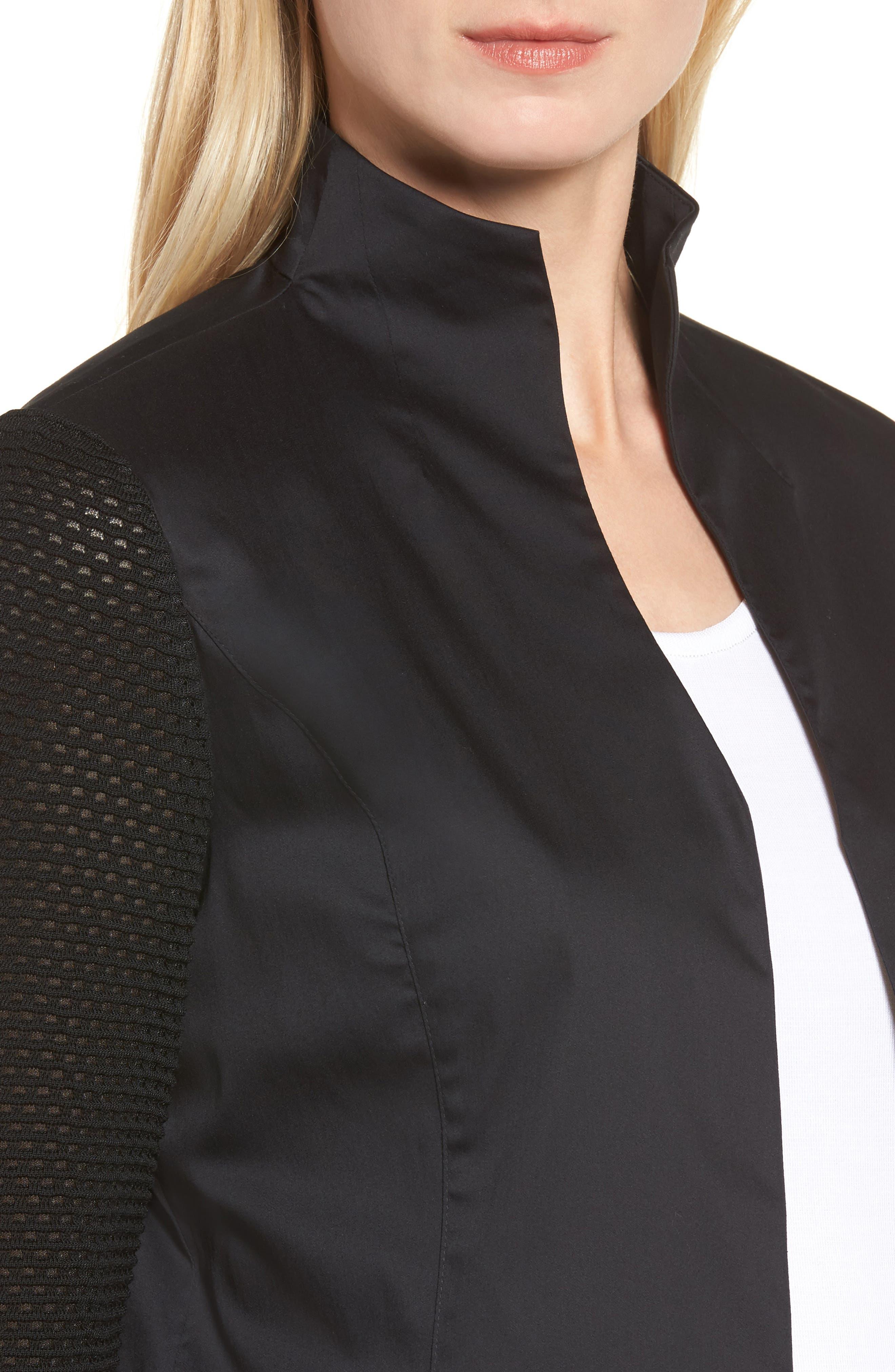 Woven & Knit Jacket,                             Alternate thumbnail 4, color,                             Black