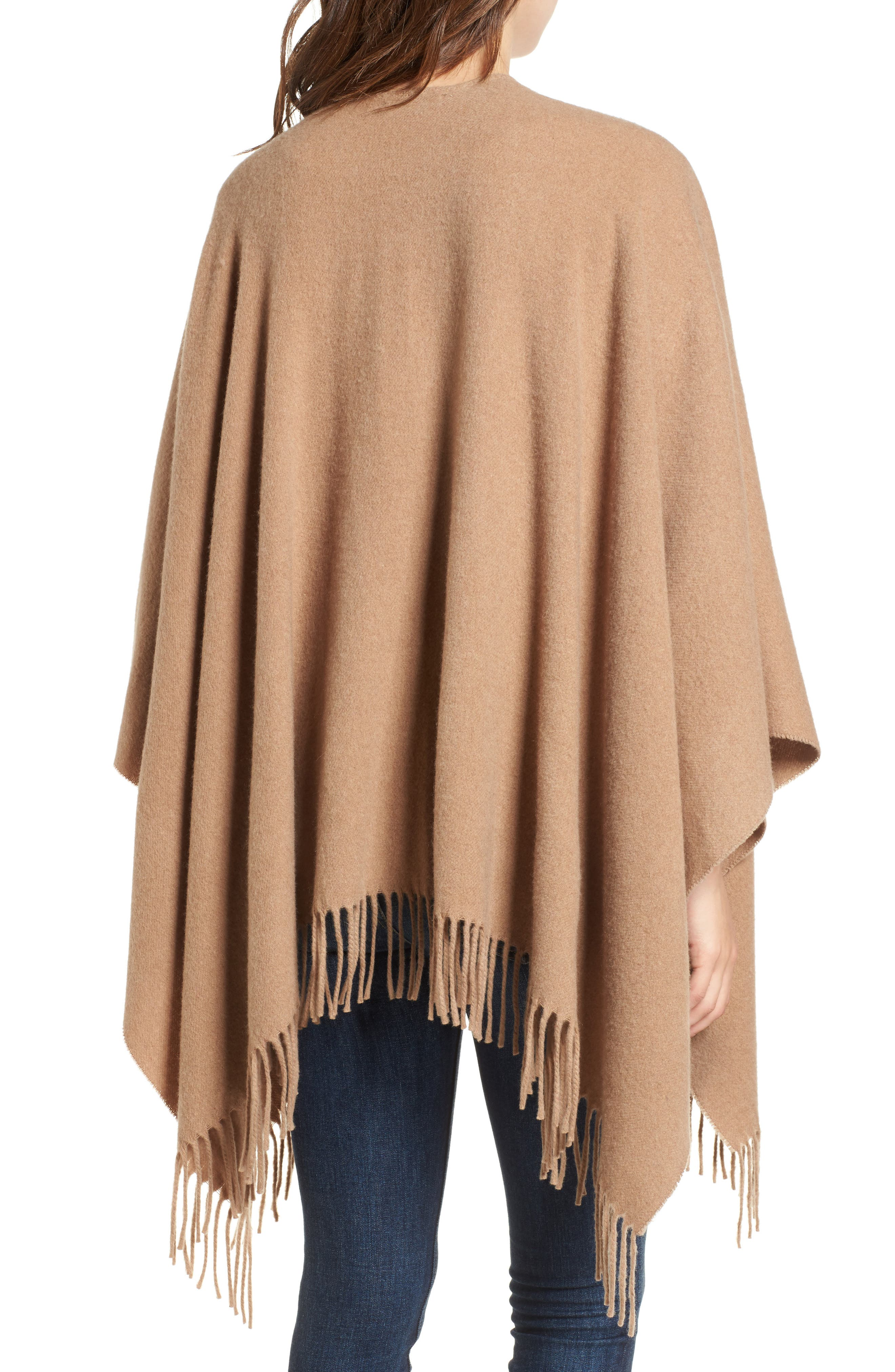 Cashmere Poncho,                             Alternate thumbnail 3, color,                             Heathered Camel
