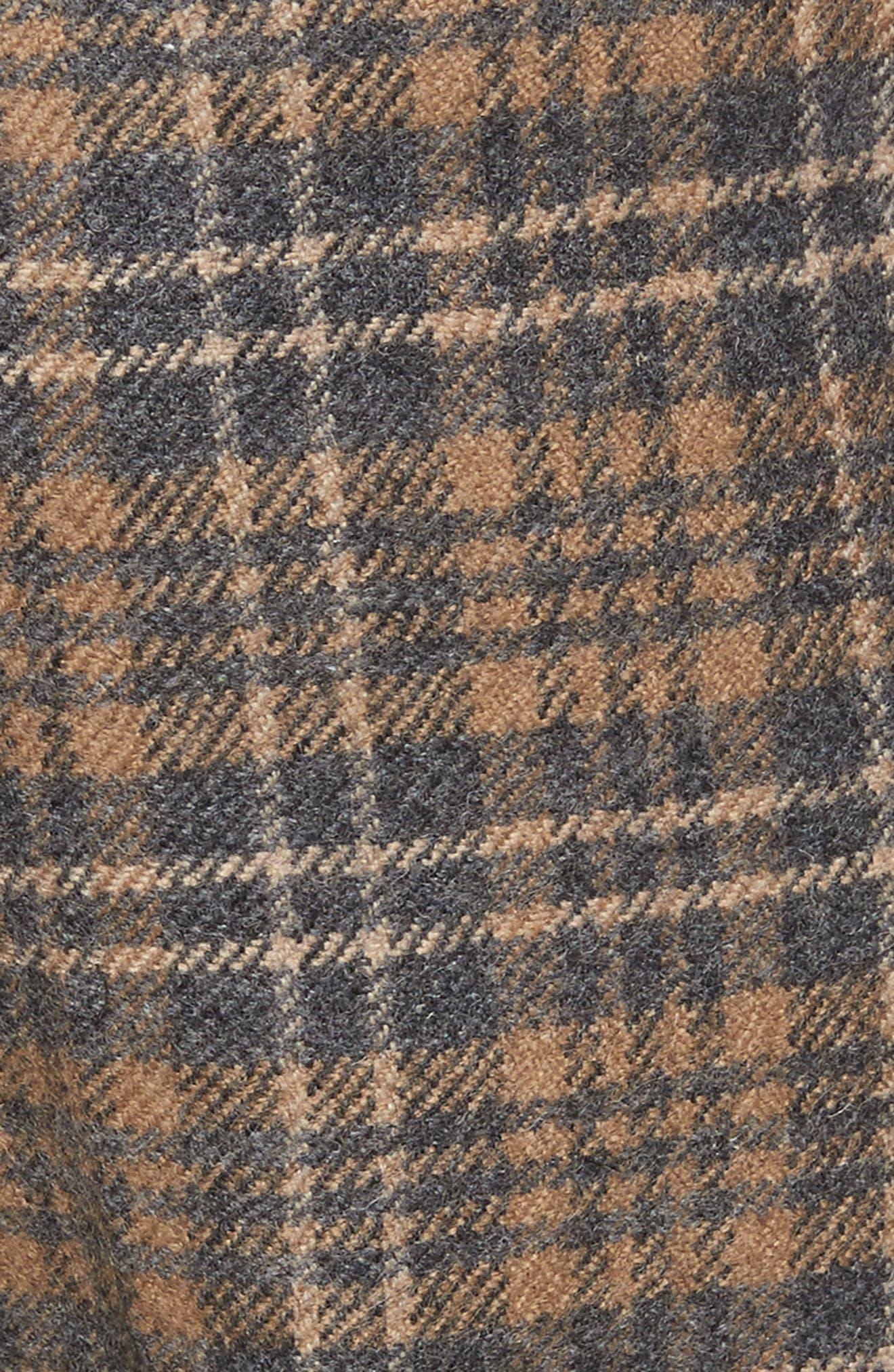 Plaid Wool Blend Wide Leg Pants,                             Alternate thumbnail 5, color,                             Camel Multi