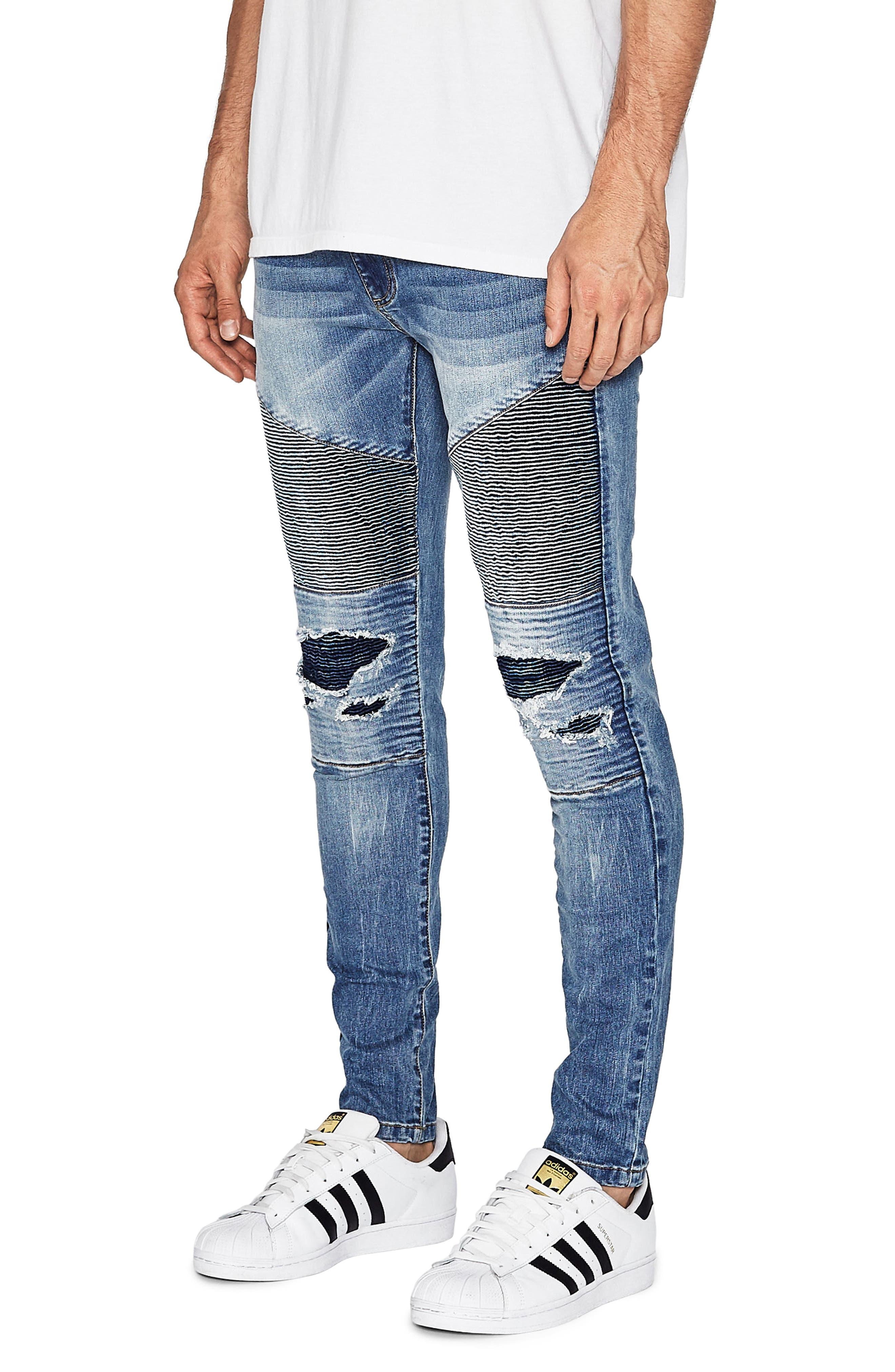 Alternate Image 3  - NXP Combination Moto Skinny Moto Jeans (Milwaukee Blue)