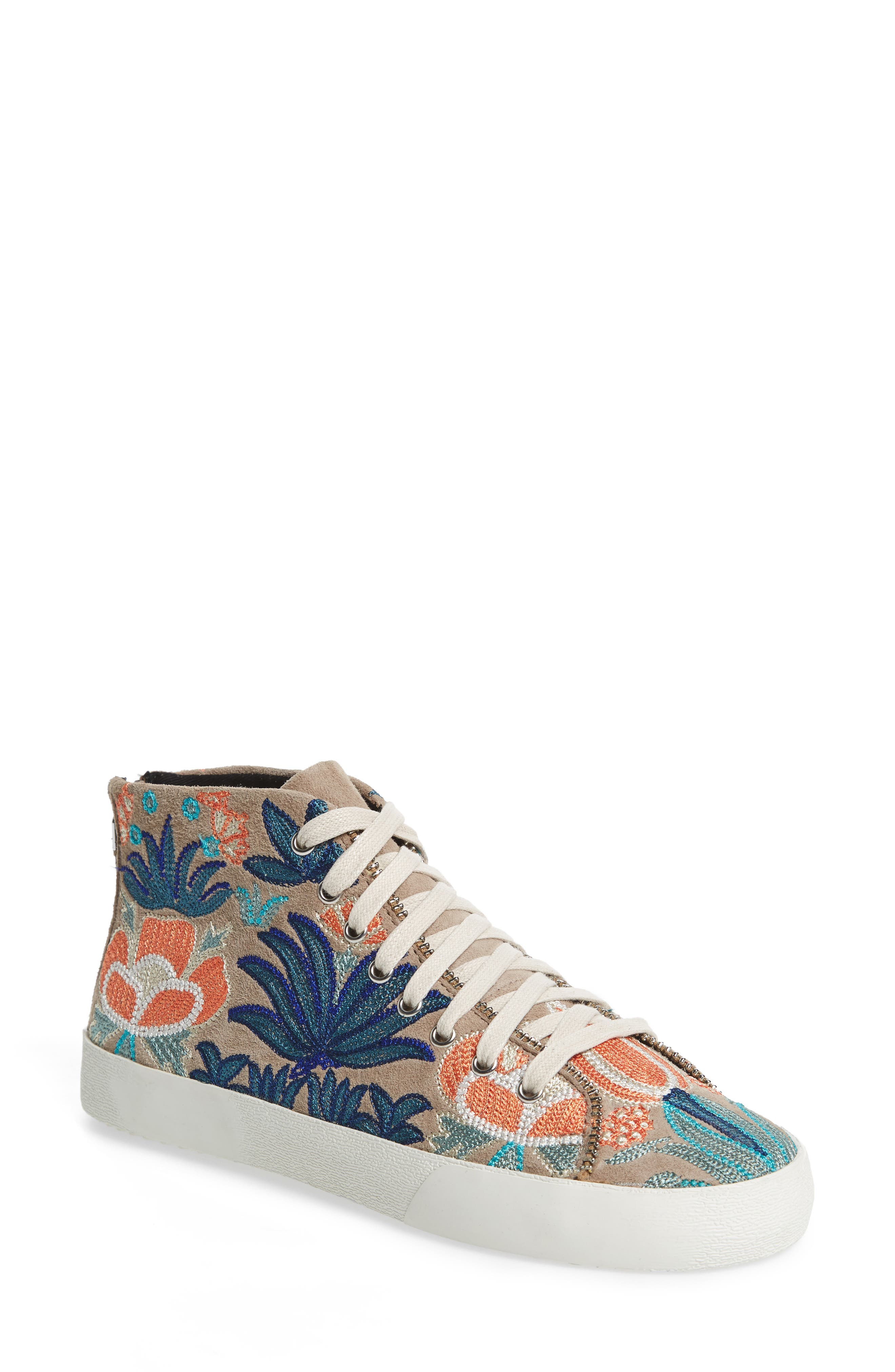 Zaina Embroidered Sneaker,                         Main,                         color, Sand