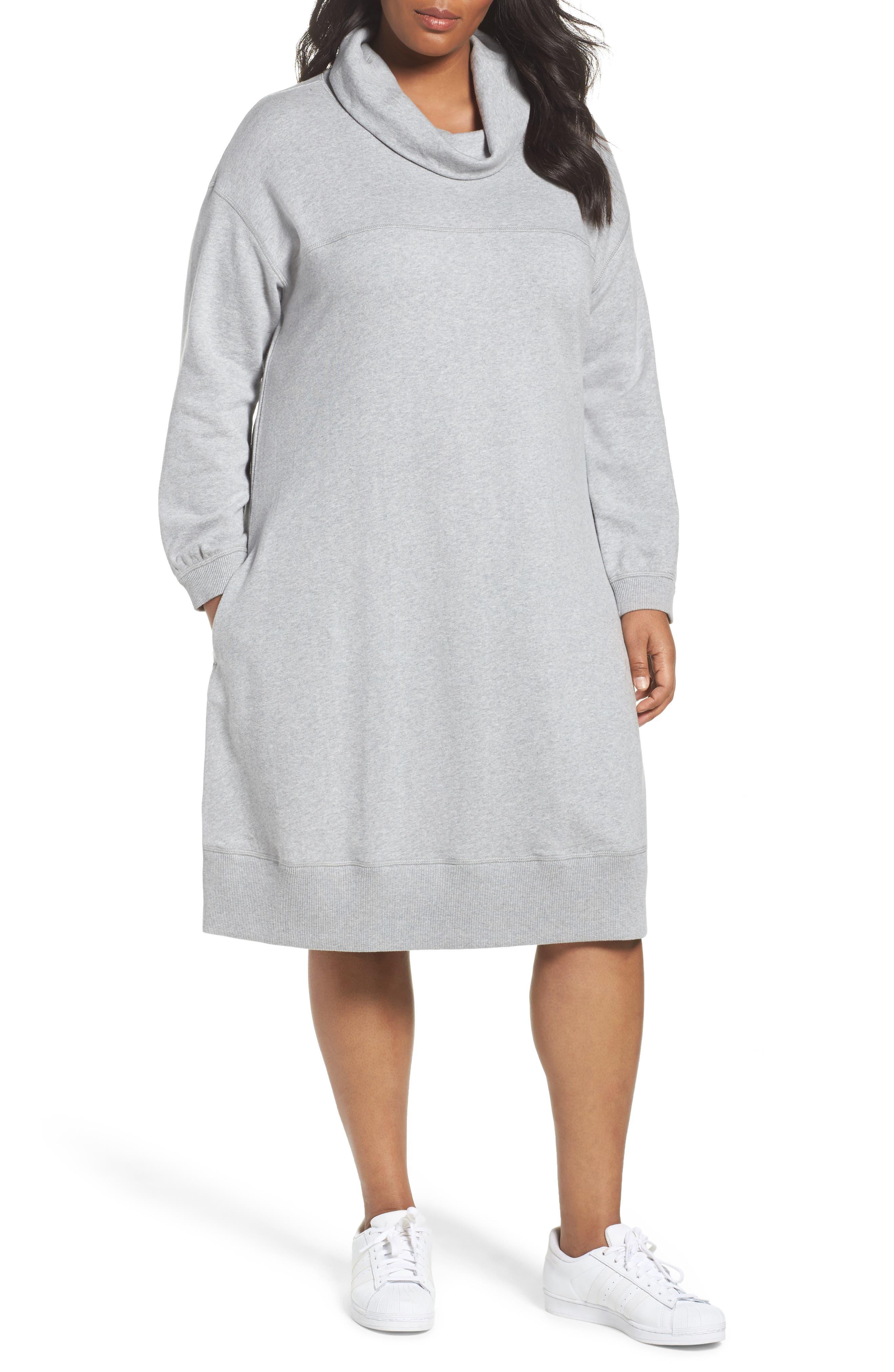 Caslon® Cowl Neck Knit Dress (Plus Size)