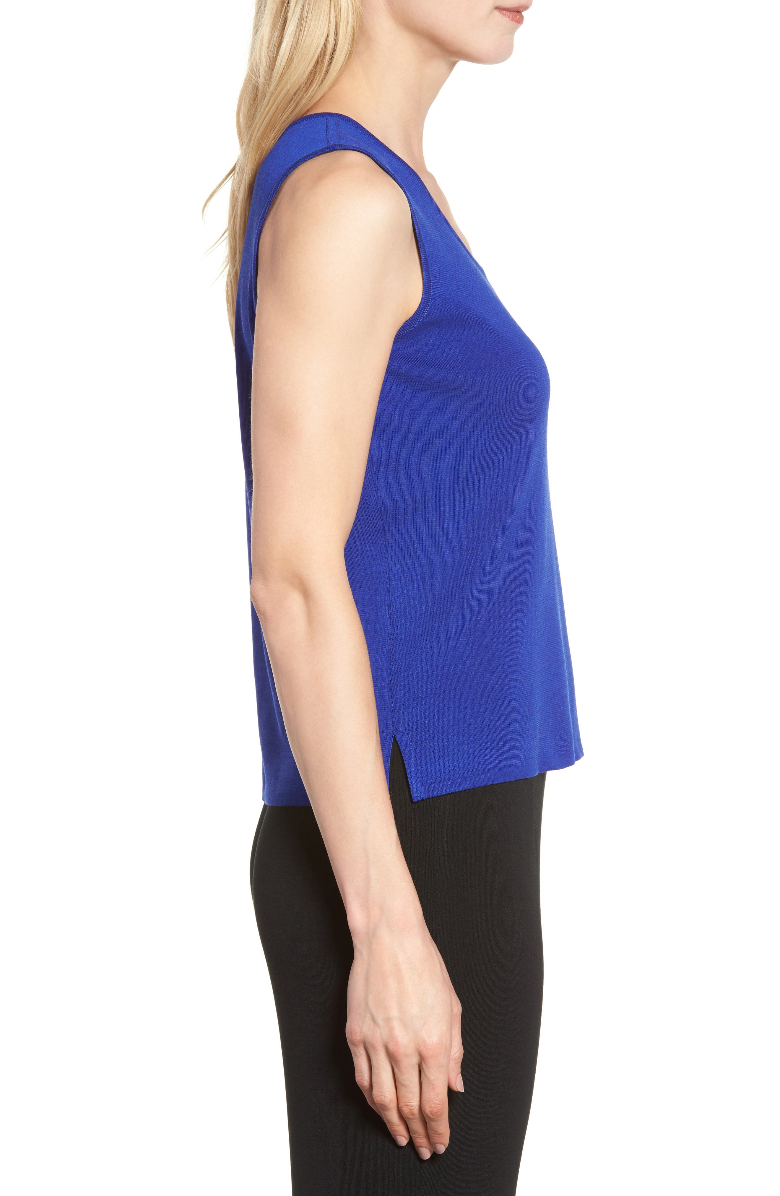 Scoop Neck Ripple Knit Tank,                             Alternate thumbnail 3, color,                             Blue Flame