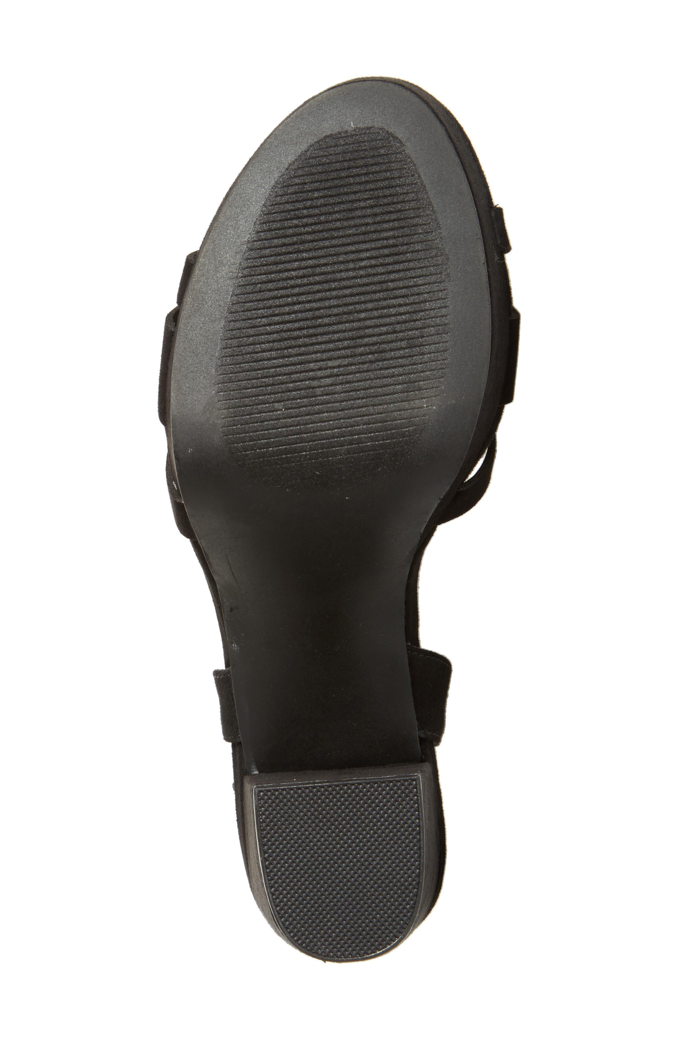 Paxx Platform Sandal,                             Alternate thumbnail 6, color,                             Black Faux Suede