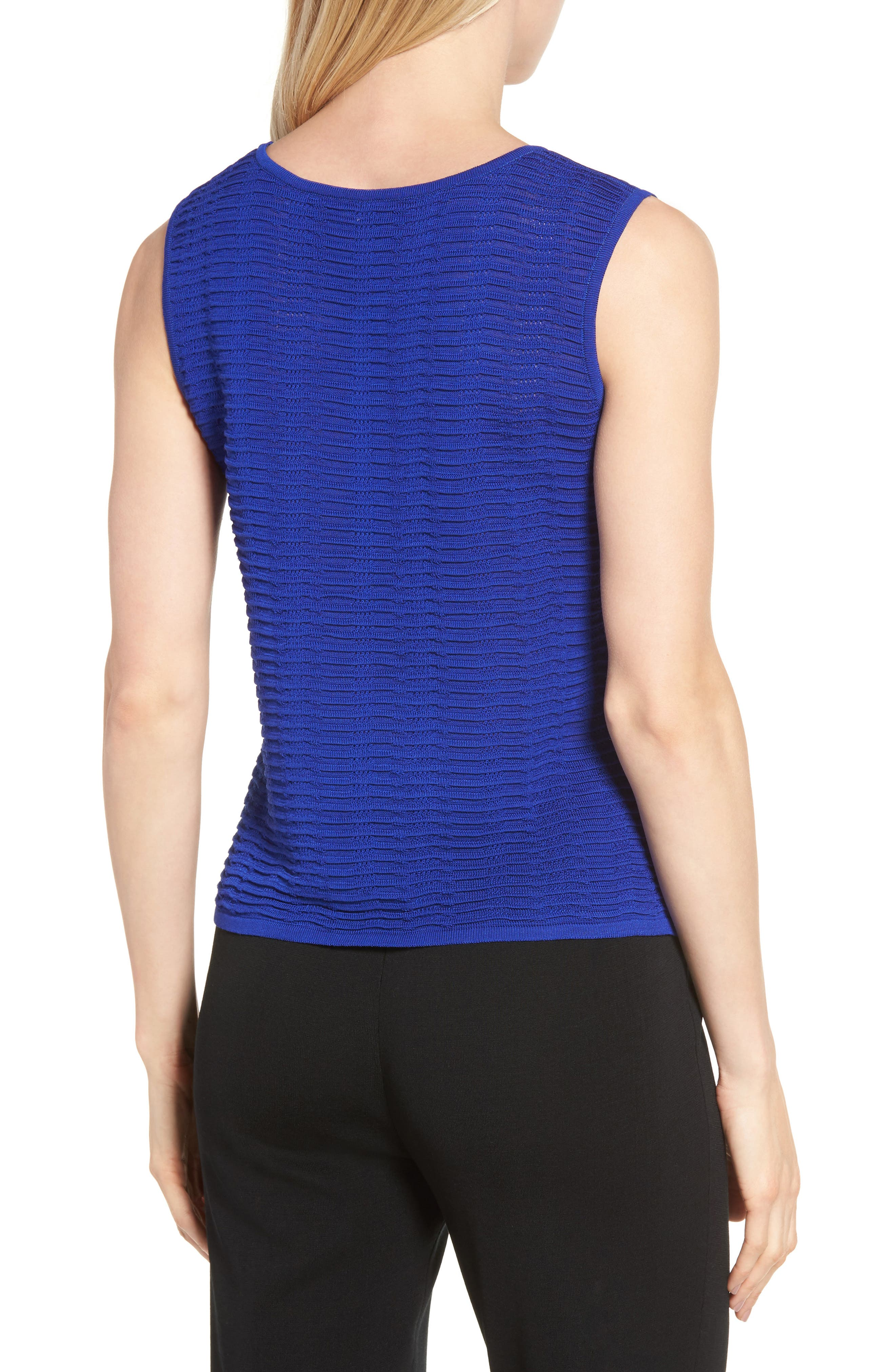 Scoop Neck Ripple Knit Tank,                             Alternate thumbnail 2, color,                             Blue Flame