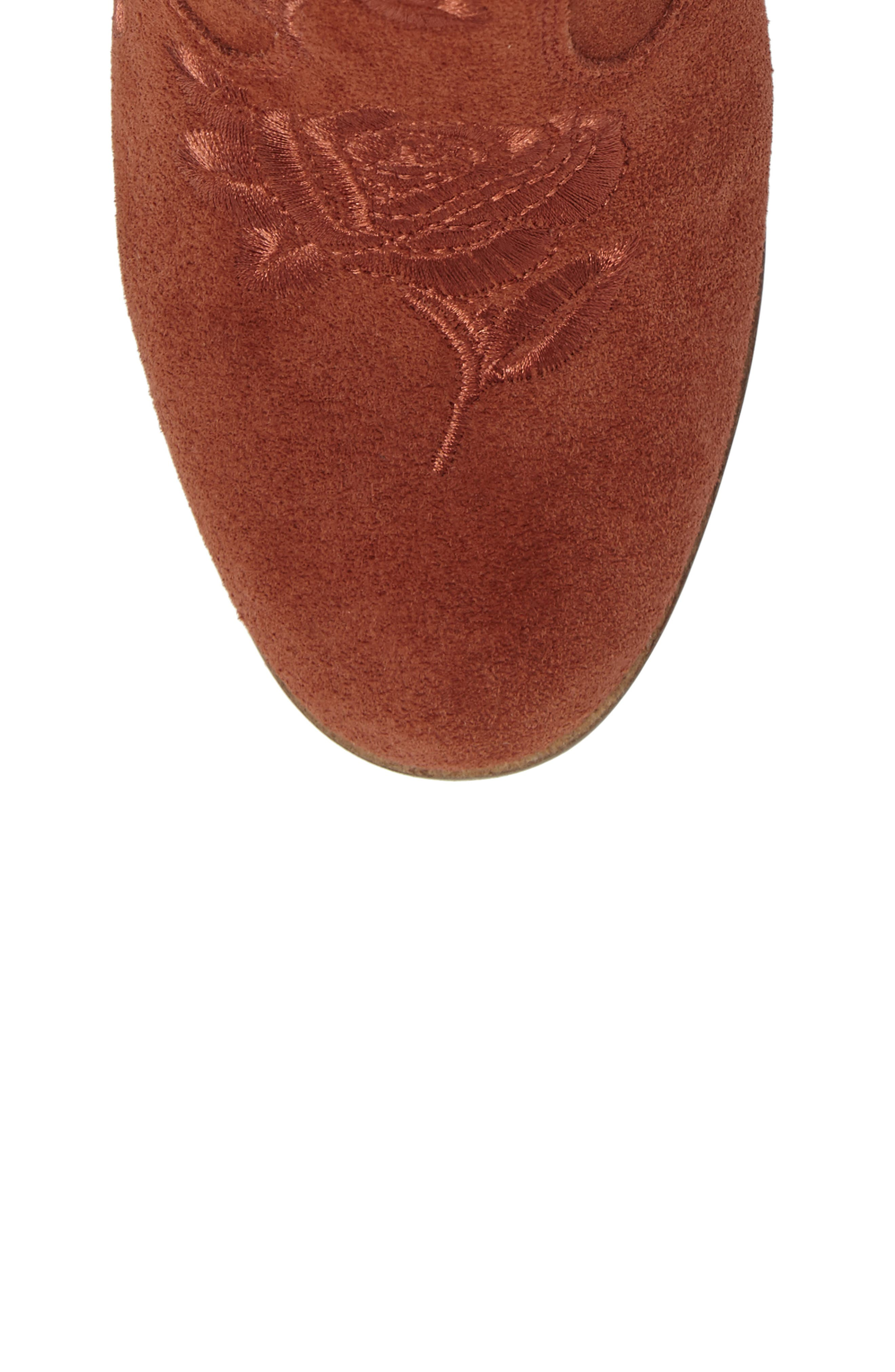 Pexton Embroidered Bootie,                             Alternate thumbnail 5, color,                             Red Oak Suede