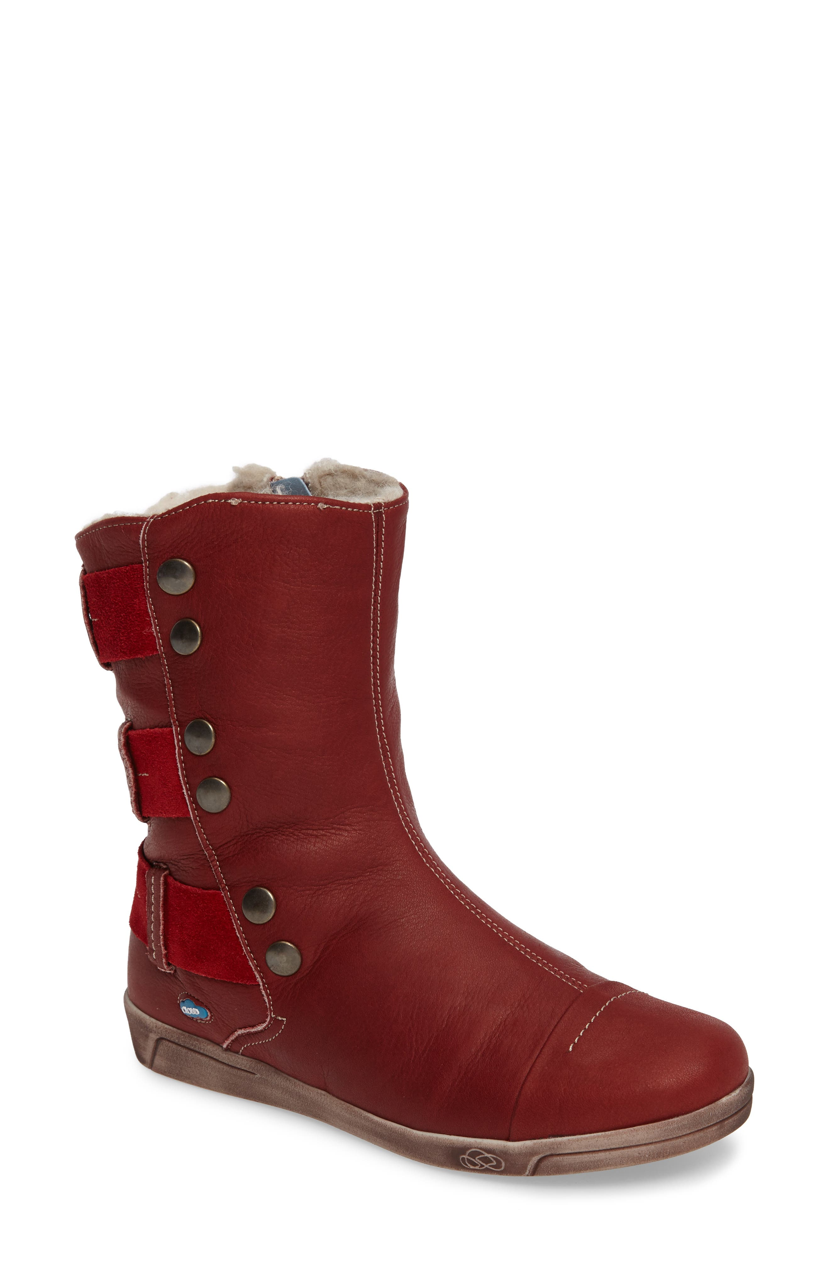 Amber Wool Lined Bootie,                             Main thumbnail 1, color,                             Red Leather