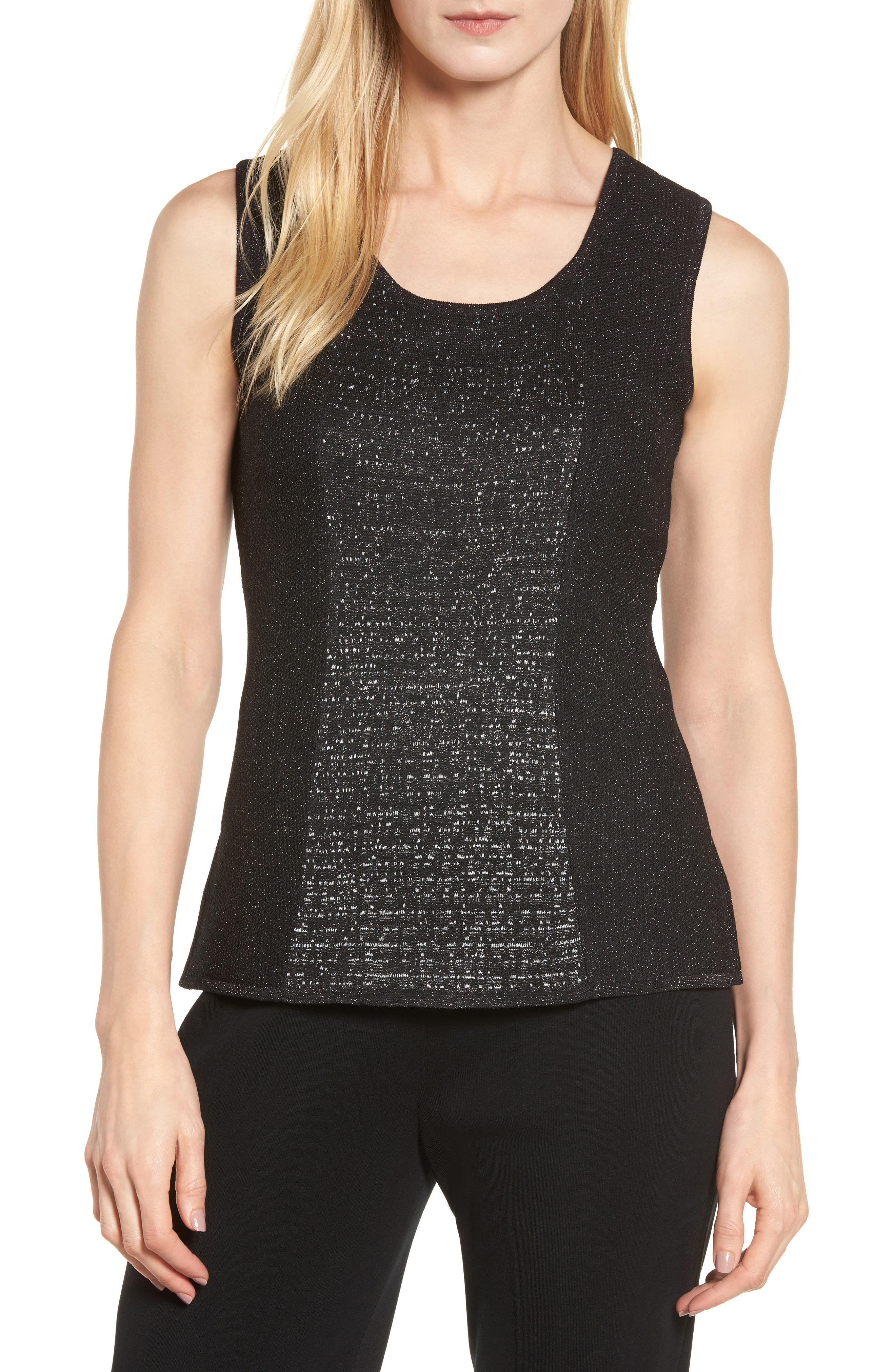 Ming Wang Scoop Neck Metallic Knit Tank