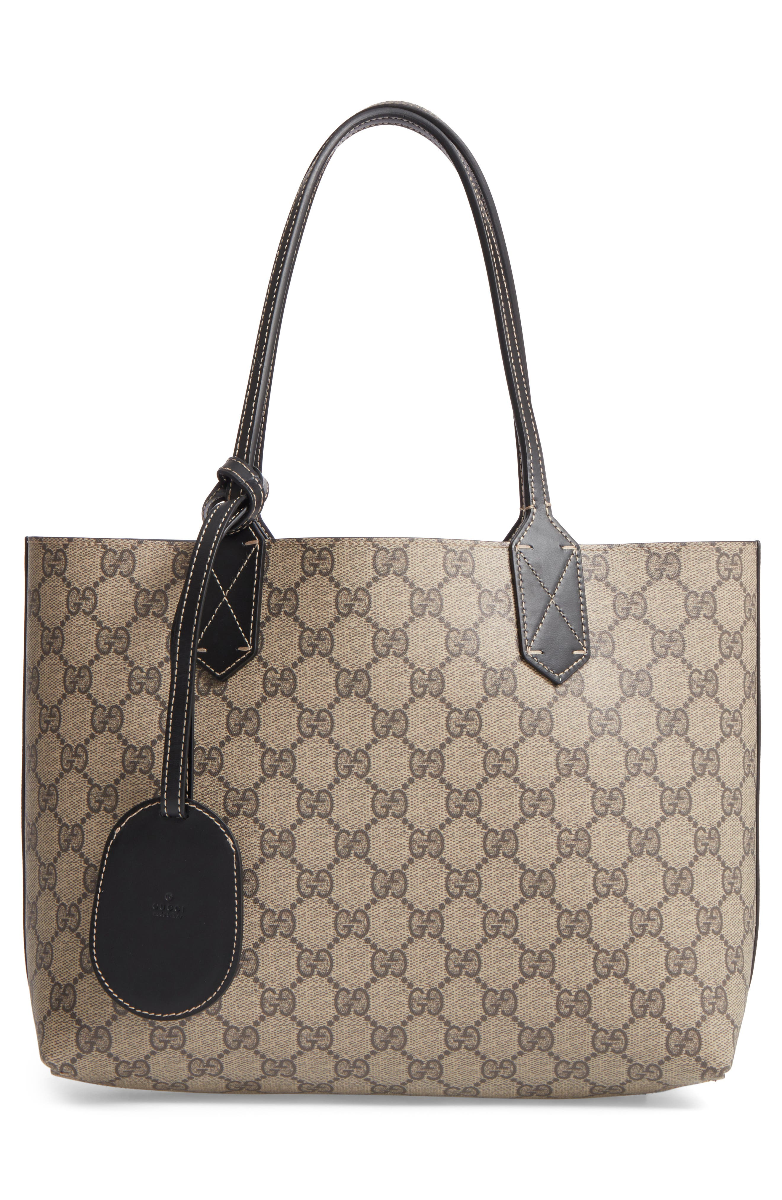 Small Turnaround Reversible Leather Tote,                             Main thumbnail 1, color,                             Beige Ebony/Blk