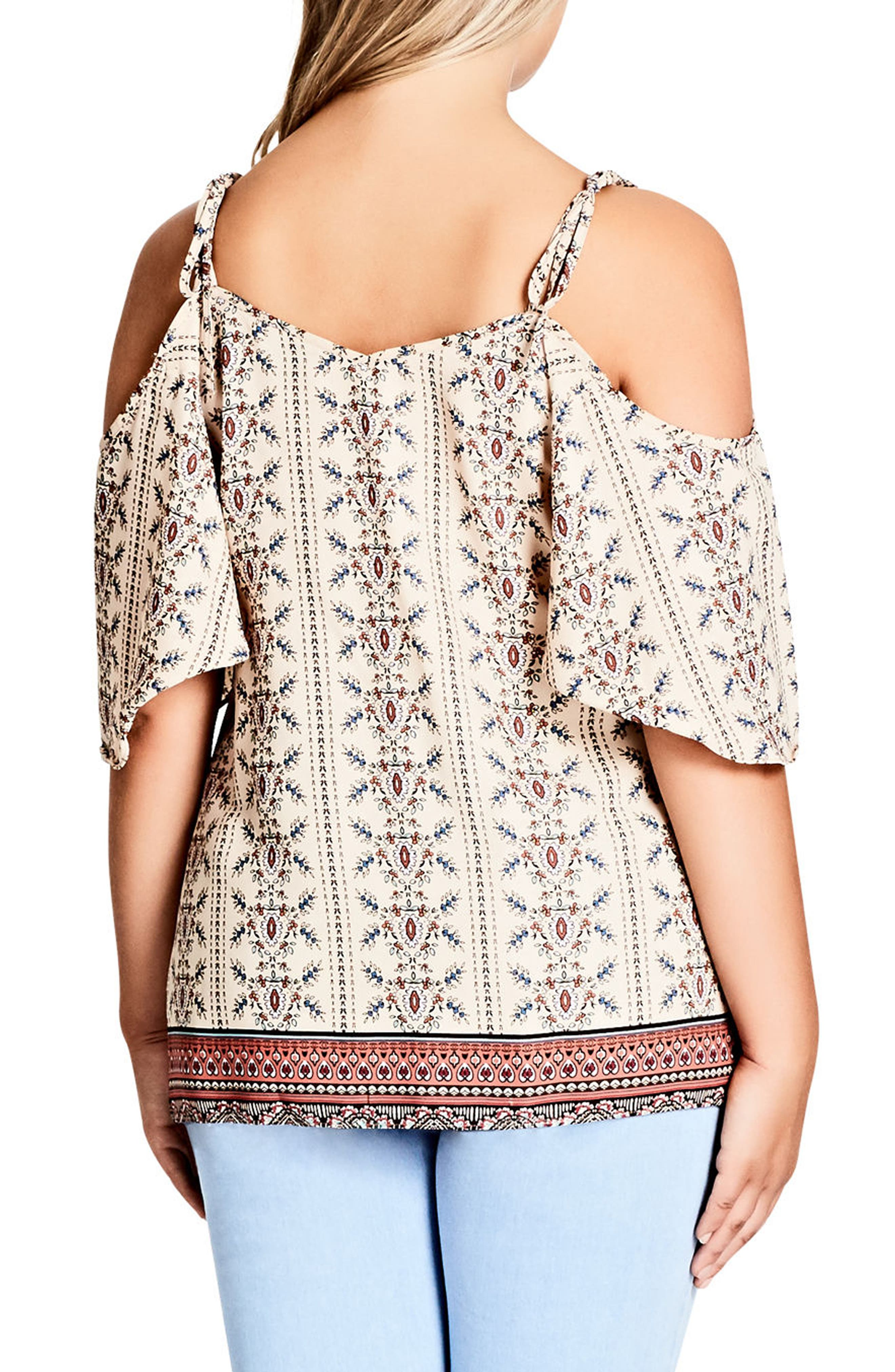 Print Cold Shoulder Top,                             Alternate thumbnail 2, color,                             Paisley Girl