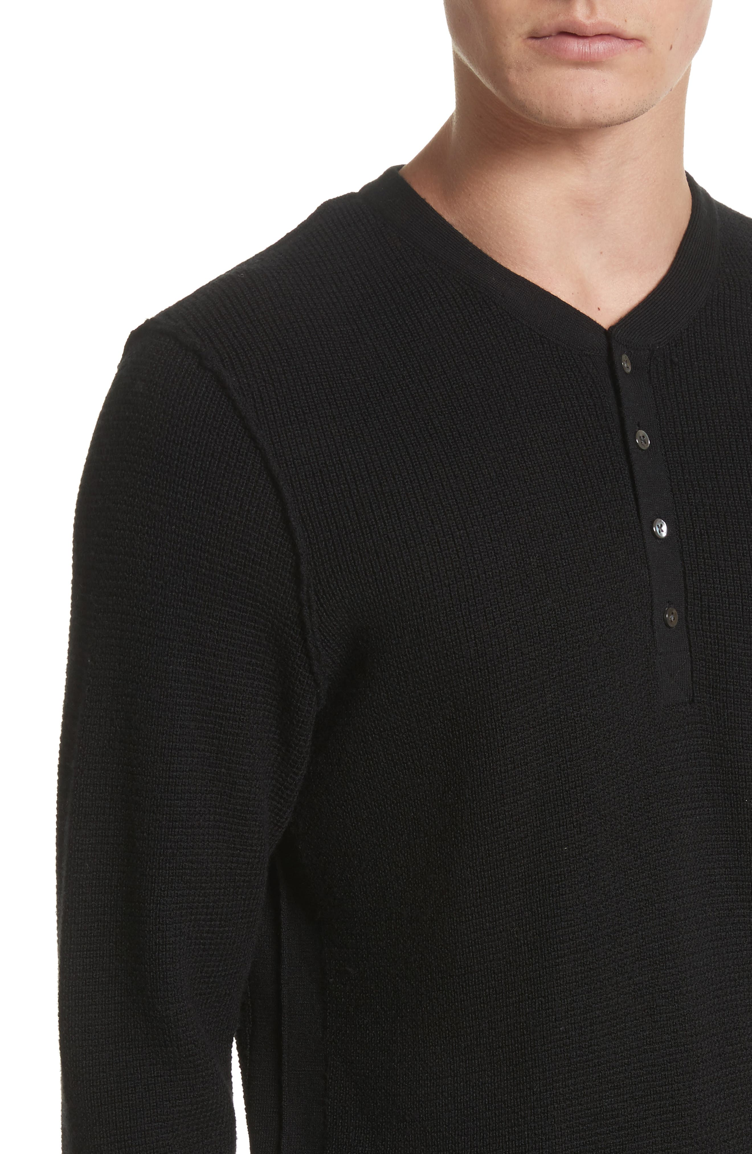 Long Sleeve Wool Henley,                             Alternate thumbnail 4, color,                             Black