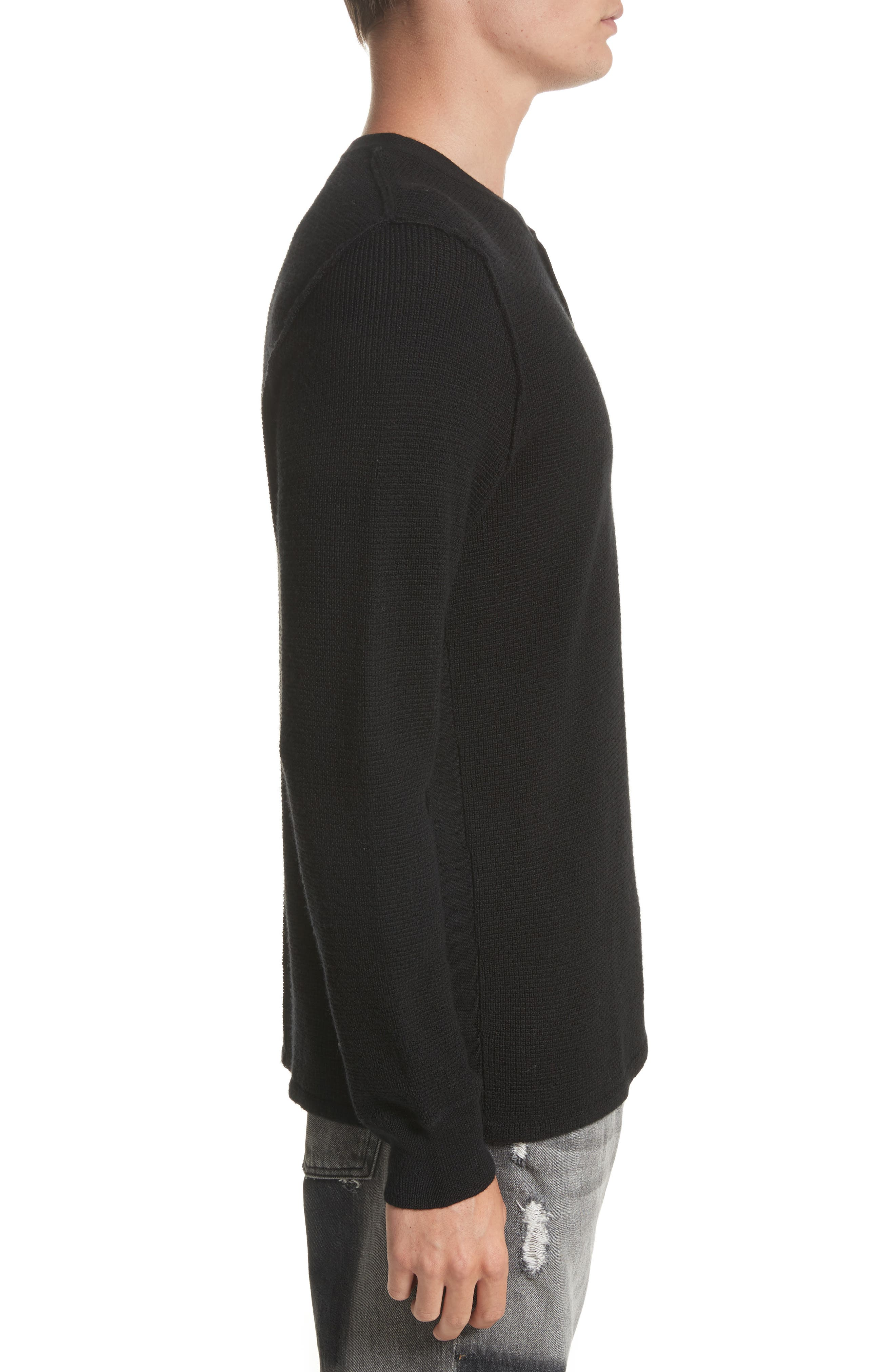 Long Sleeve Wool Henley,                             Alternate thumbnail 3, color,                             Black