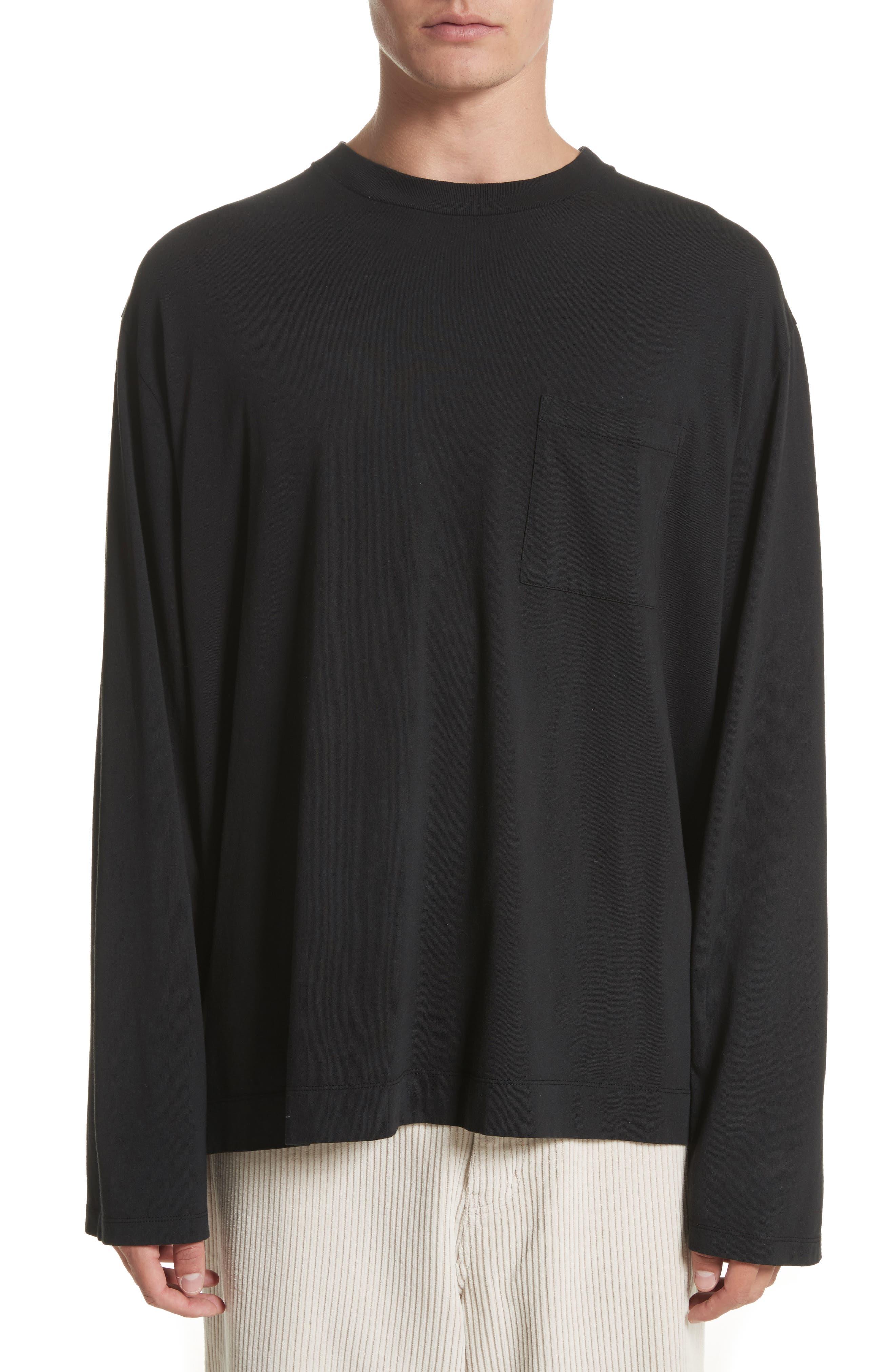 Long Sleeve Pocket T-Shirt,                         Main,                         color, Black