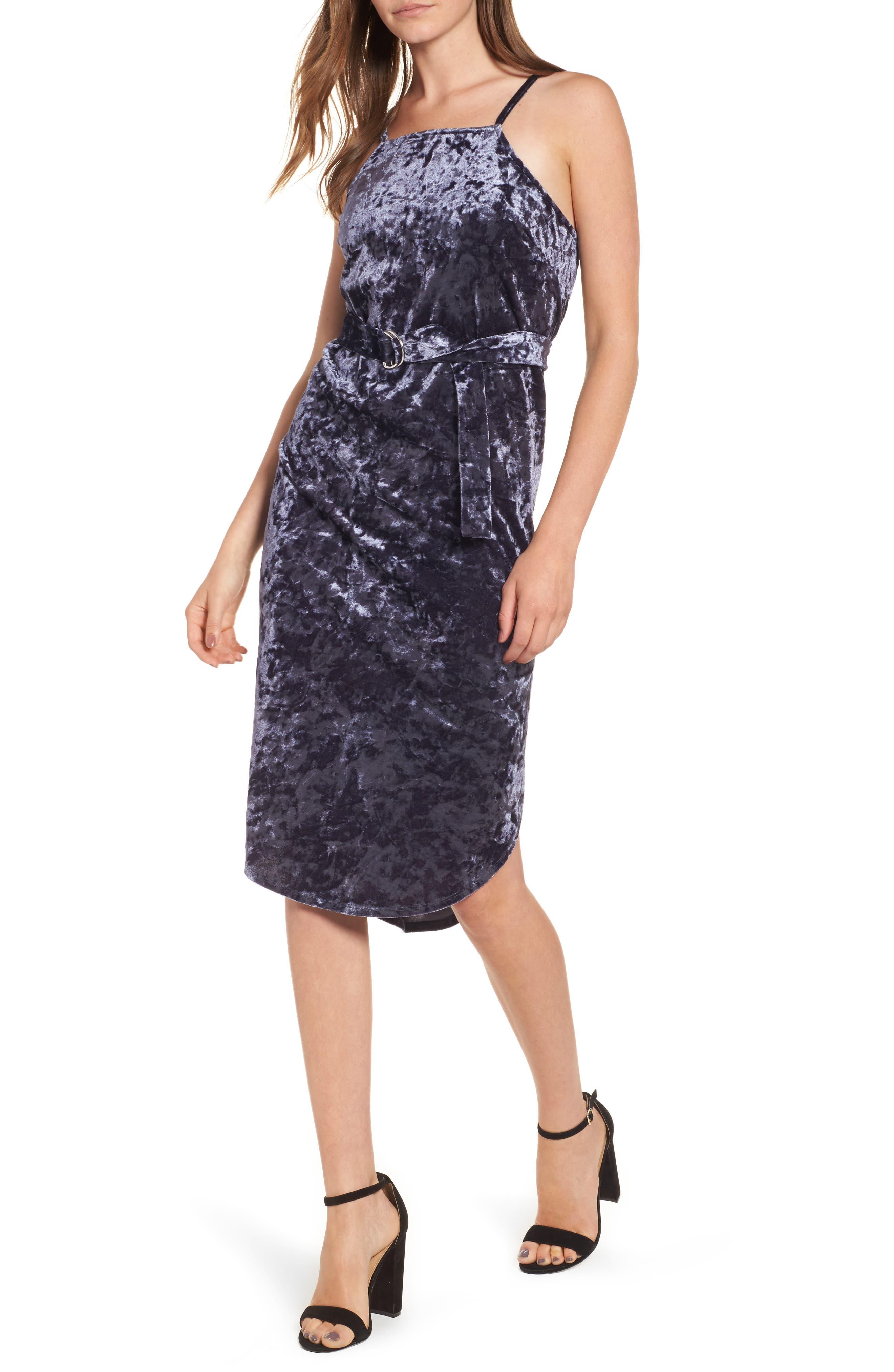 Love, Fire Crushed Velvet D-Ring Dress