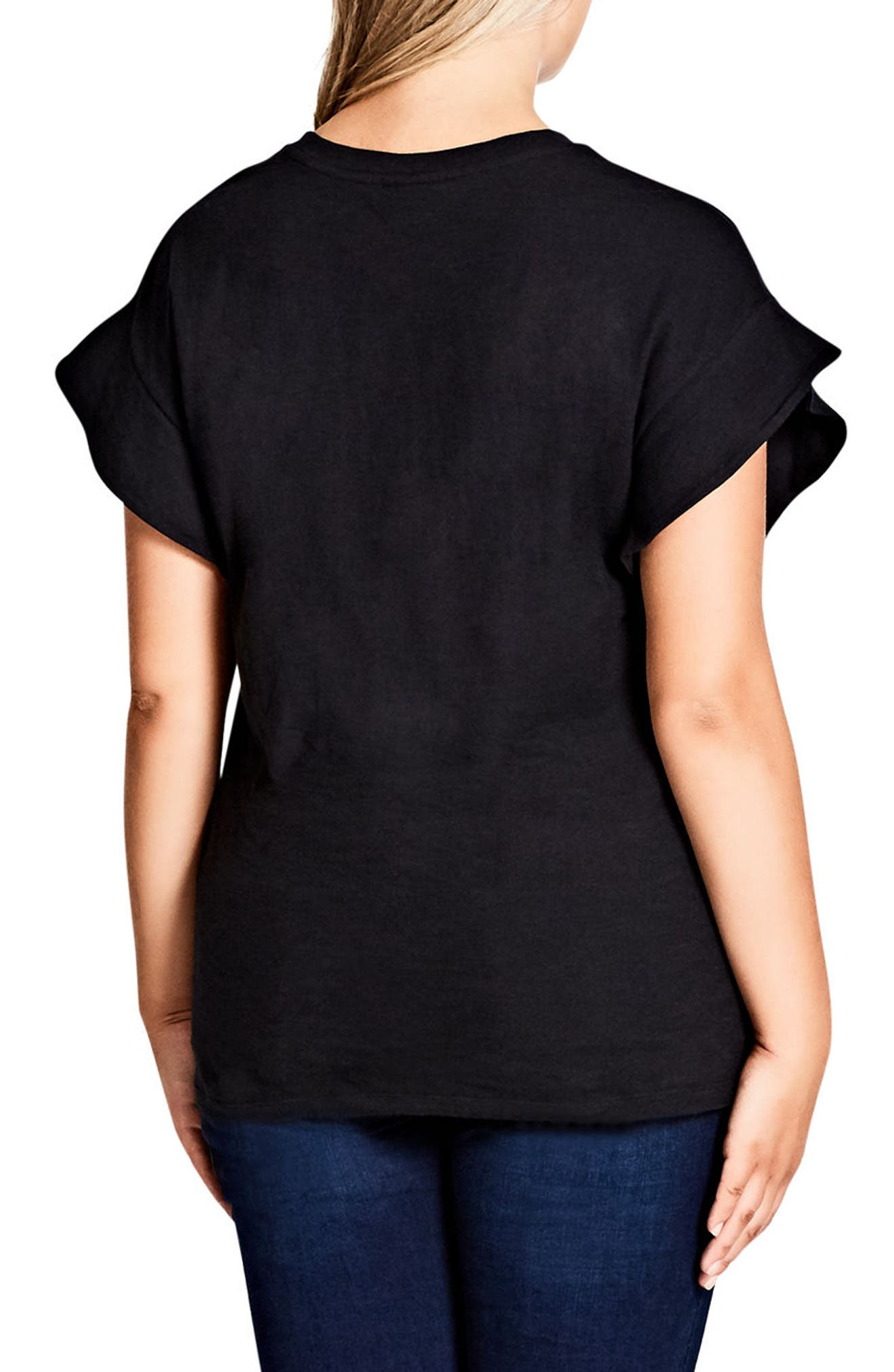 Alternate Image 2  - City Chic Flutter Sleeve Tee (Plus Size)