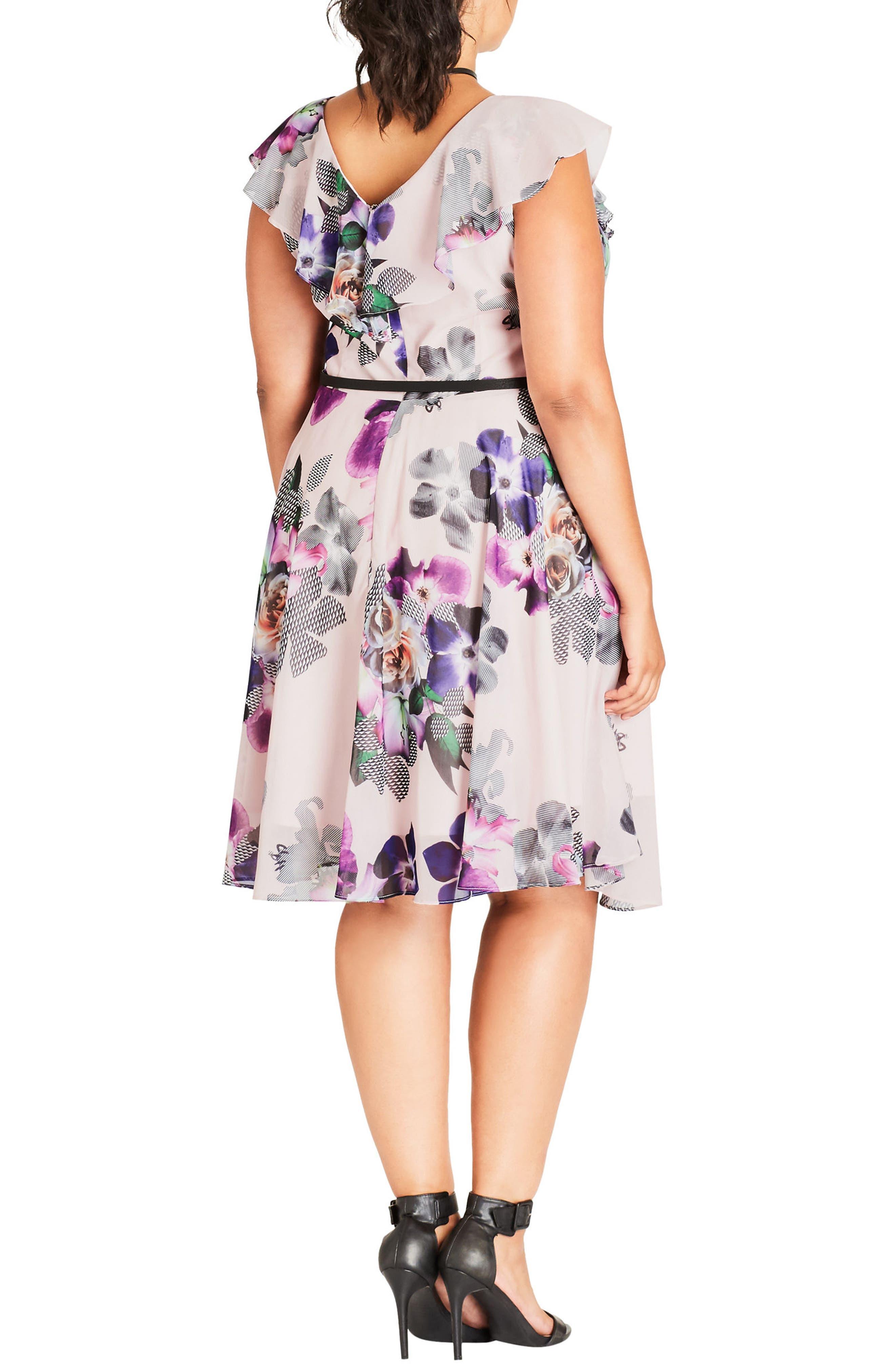 Romance Ruffle Floral Fit & Flare Dress,                             Alternate thumbnail 2, color,                             Passion Floral