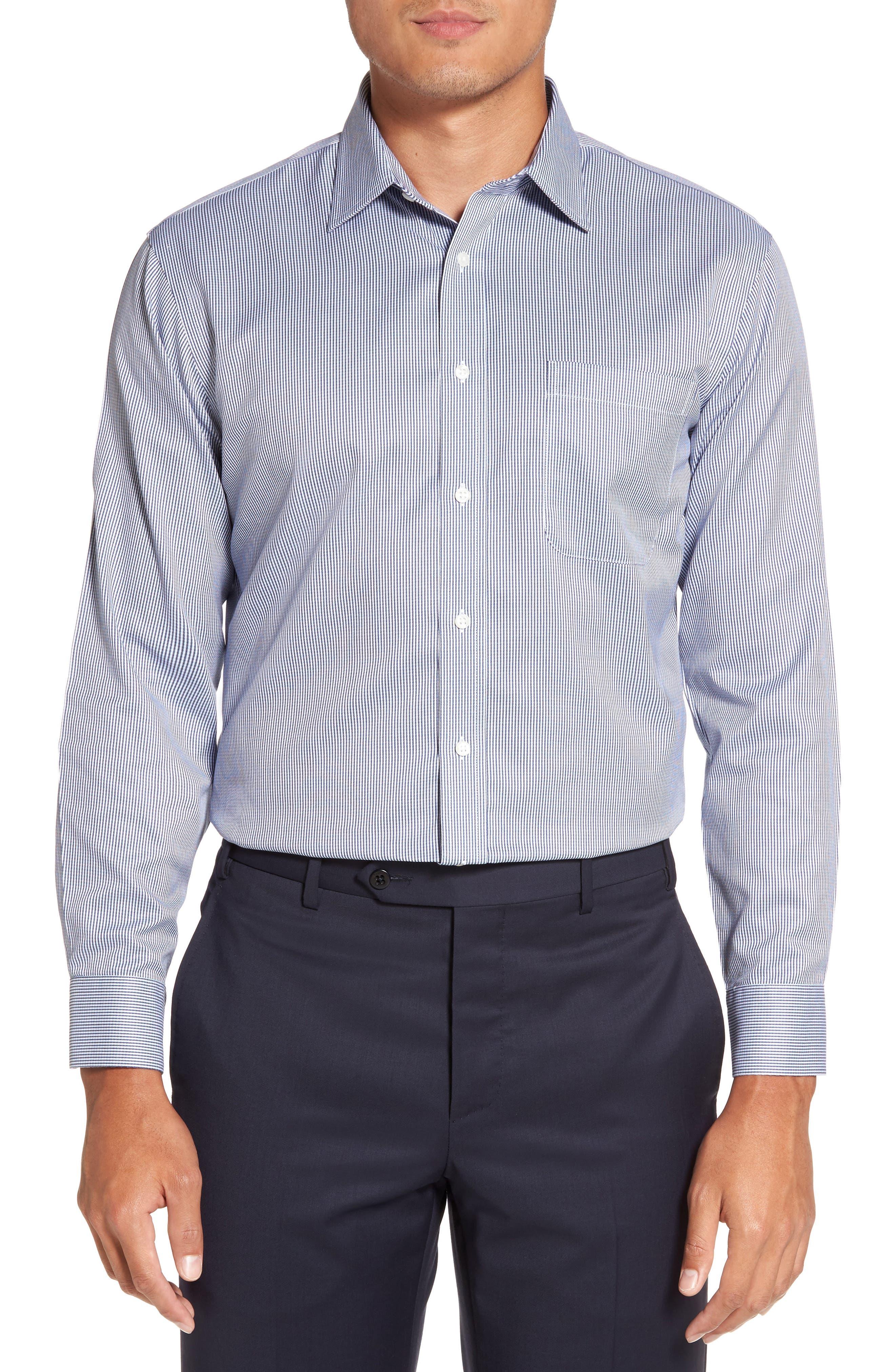 Smartcare<sup>™</sup> Trim Fit Stripe Dress Shirt,                             Alternate thumbnail 2, color,                             Blue Bisou