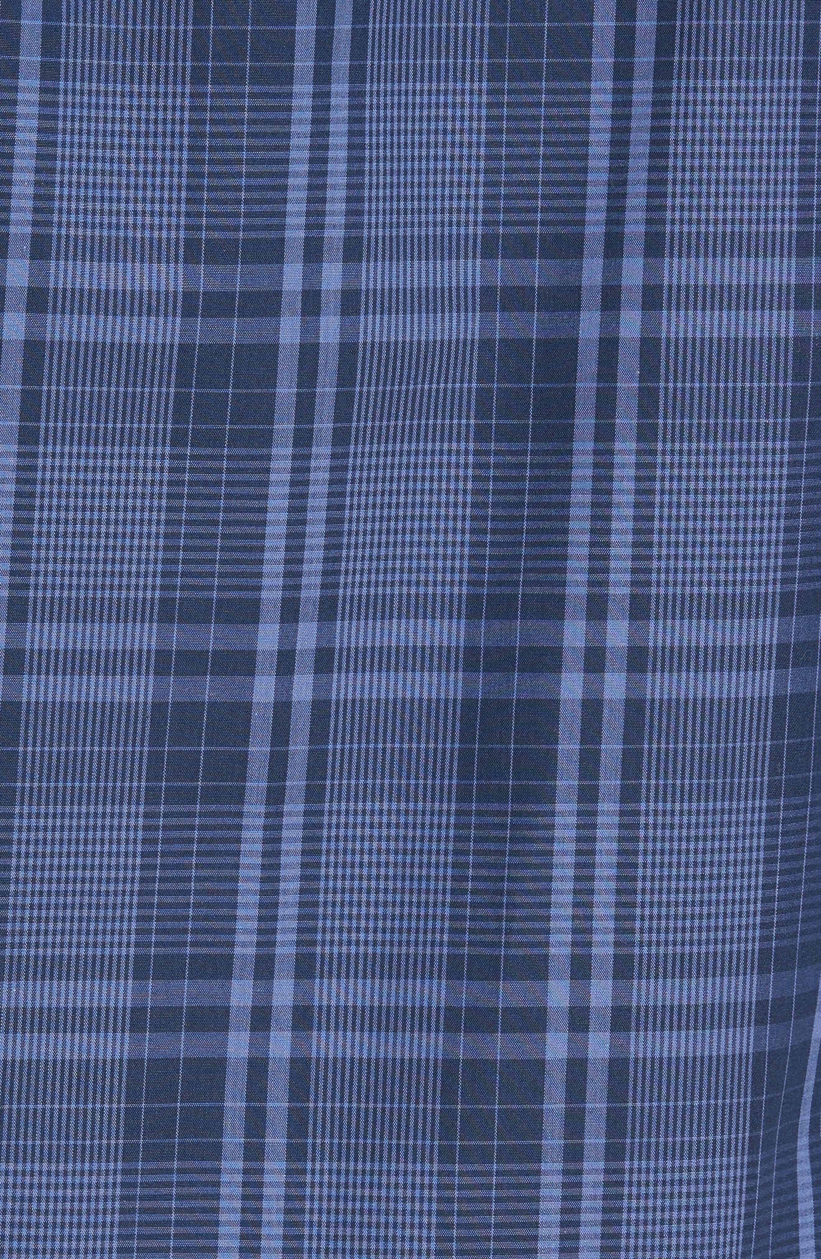 Slim Fit Plaid Sport Shirt,                             Alternate thumbnail 5, color,                             Navy Iris Blue Plaid