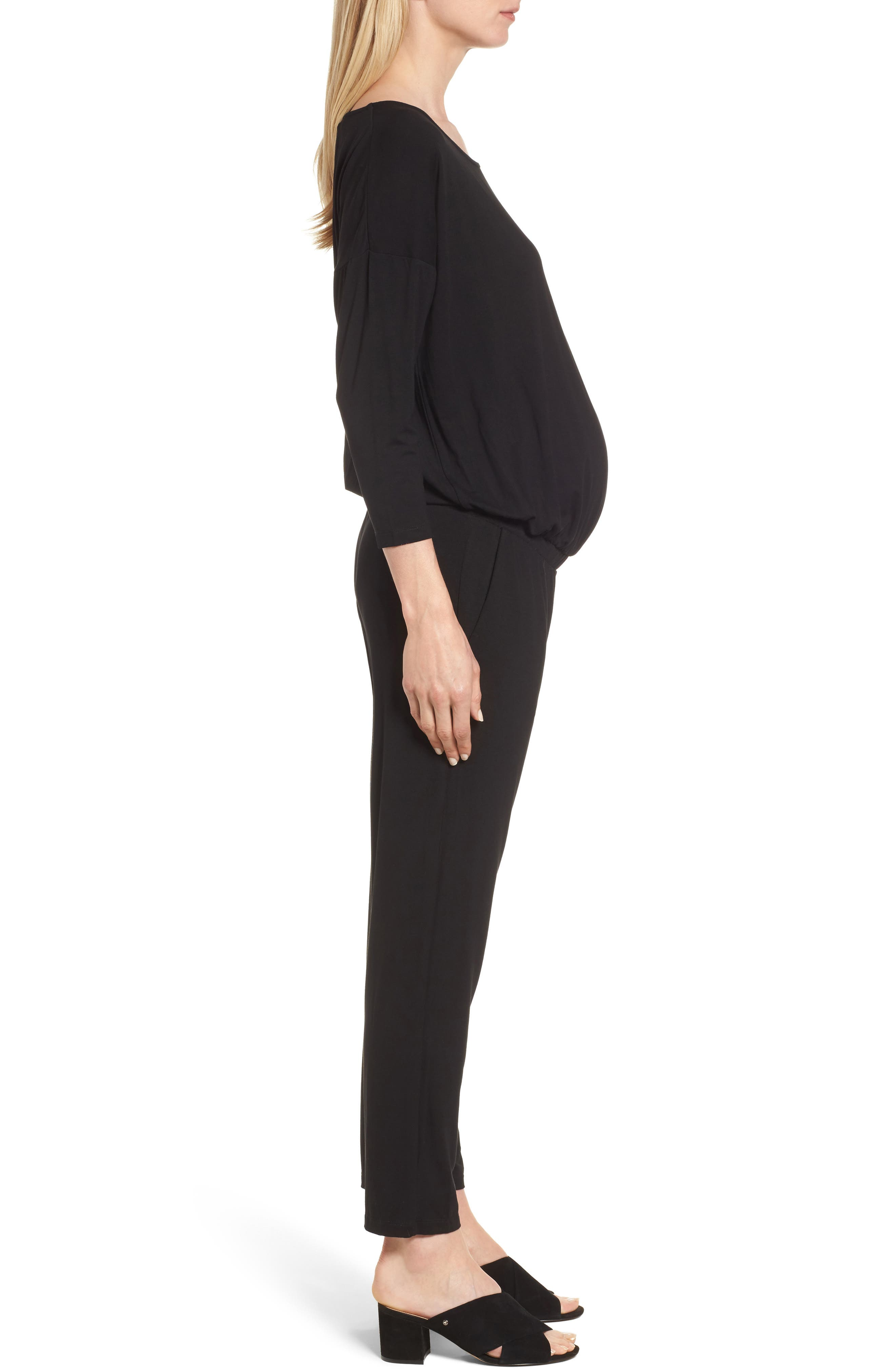 Chloe Maternity Jumpsuit,                             Alternate thumbnail 3, color,                             Caviar Black