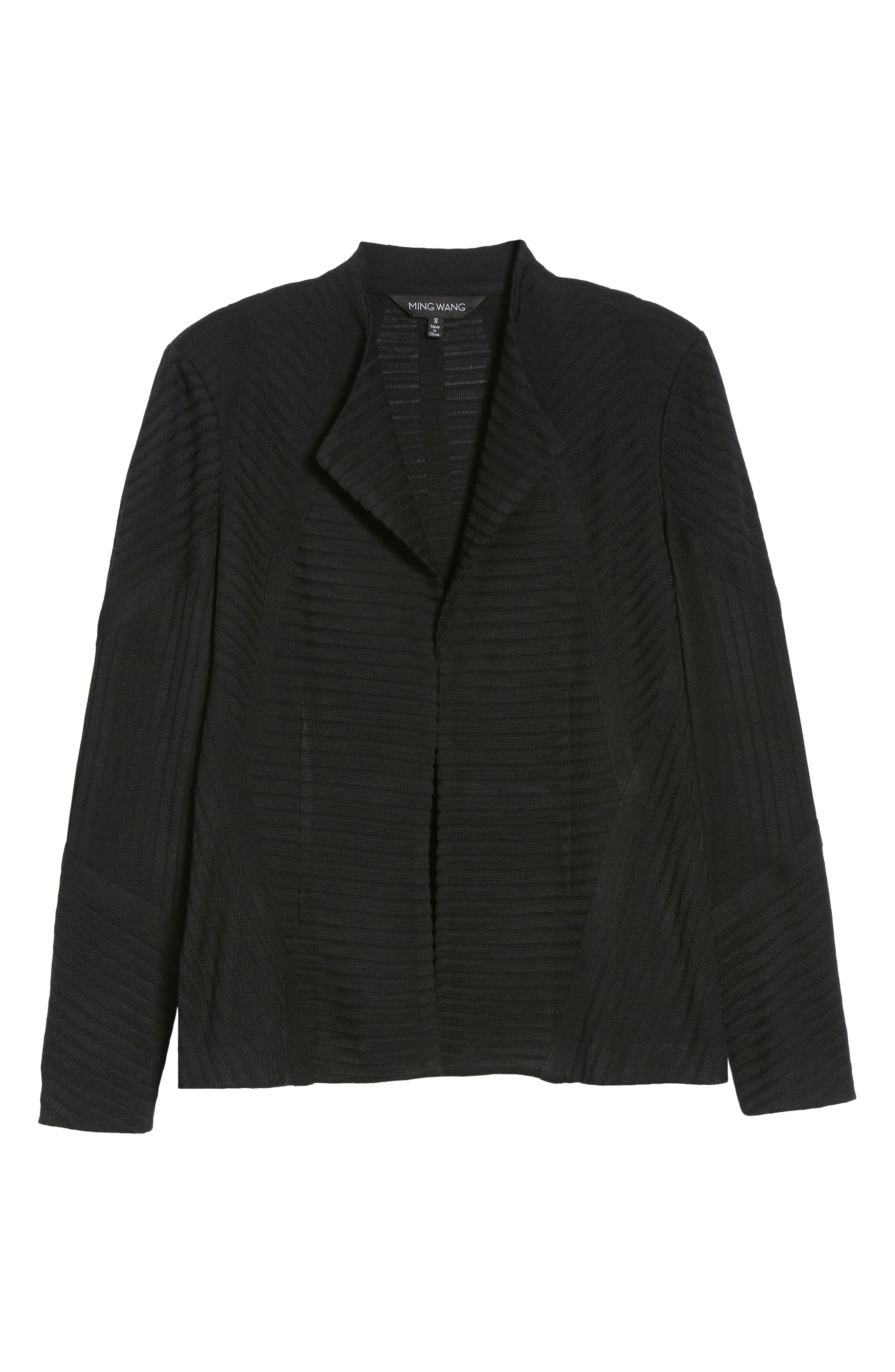 Striped Knit Jacket,                             Alternate thumbnail 6, color,                             Black