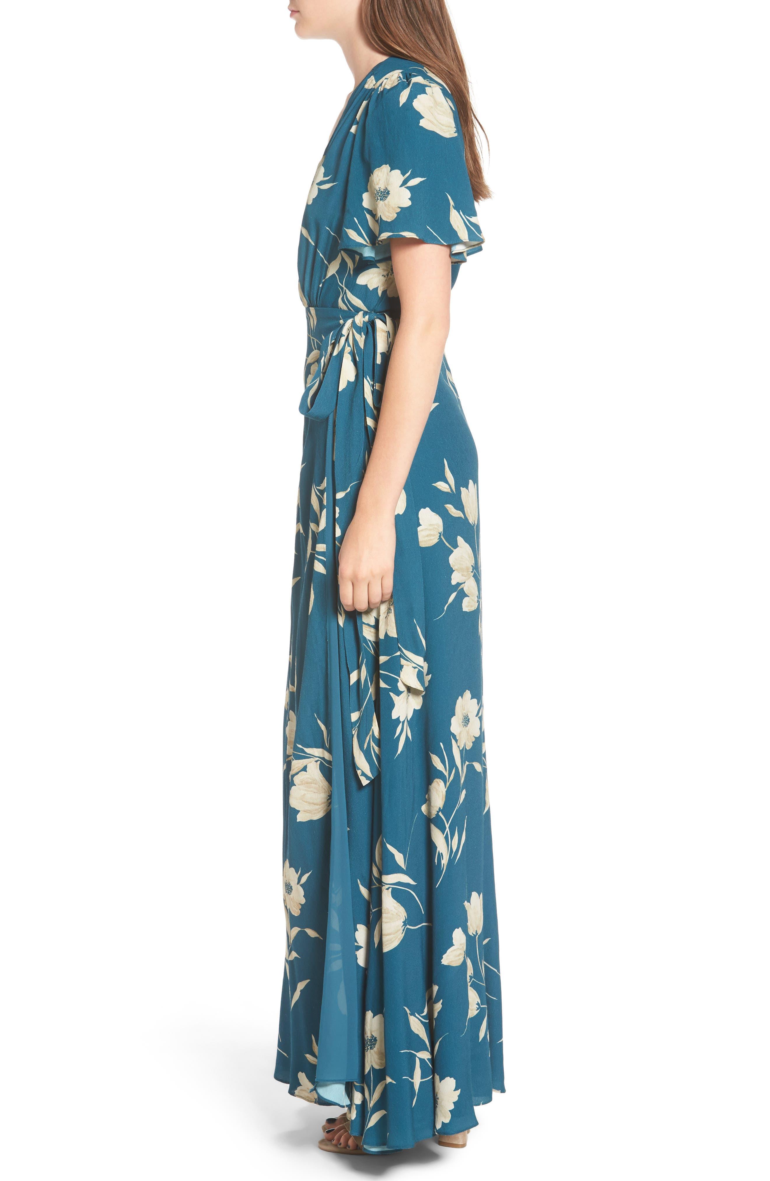 Plaza Wrap Maxi Dress,                             Alternate thumbnail 3, color,                             Sage Floral