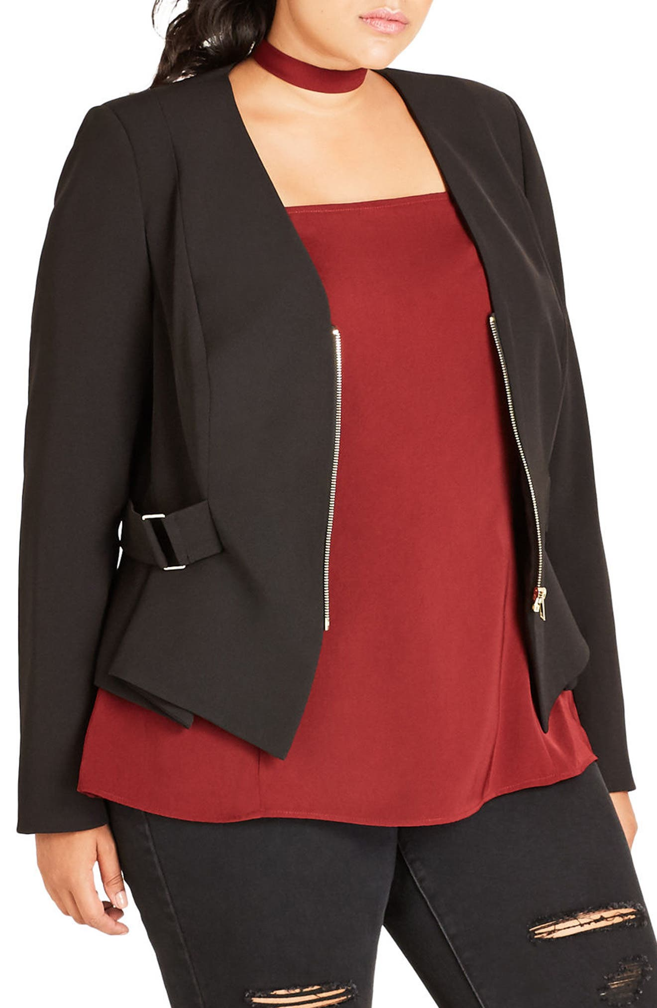 Side Buckle Crop Jacket,                         Main,                         color, Black