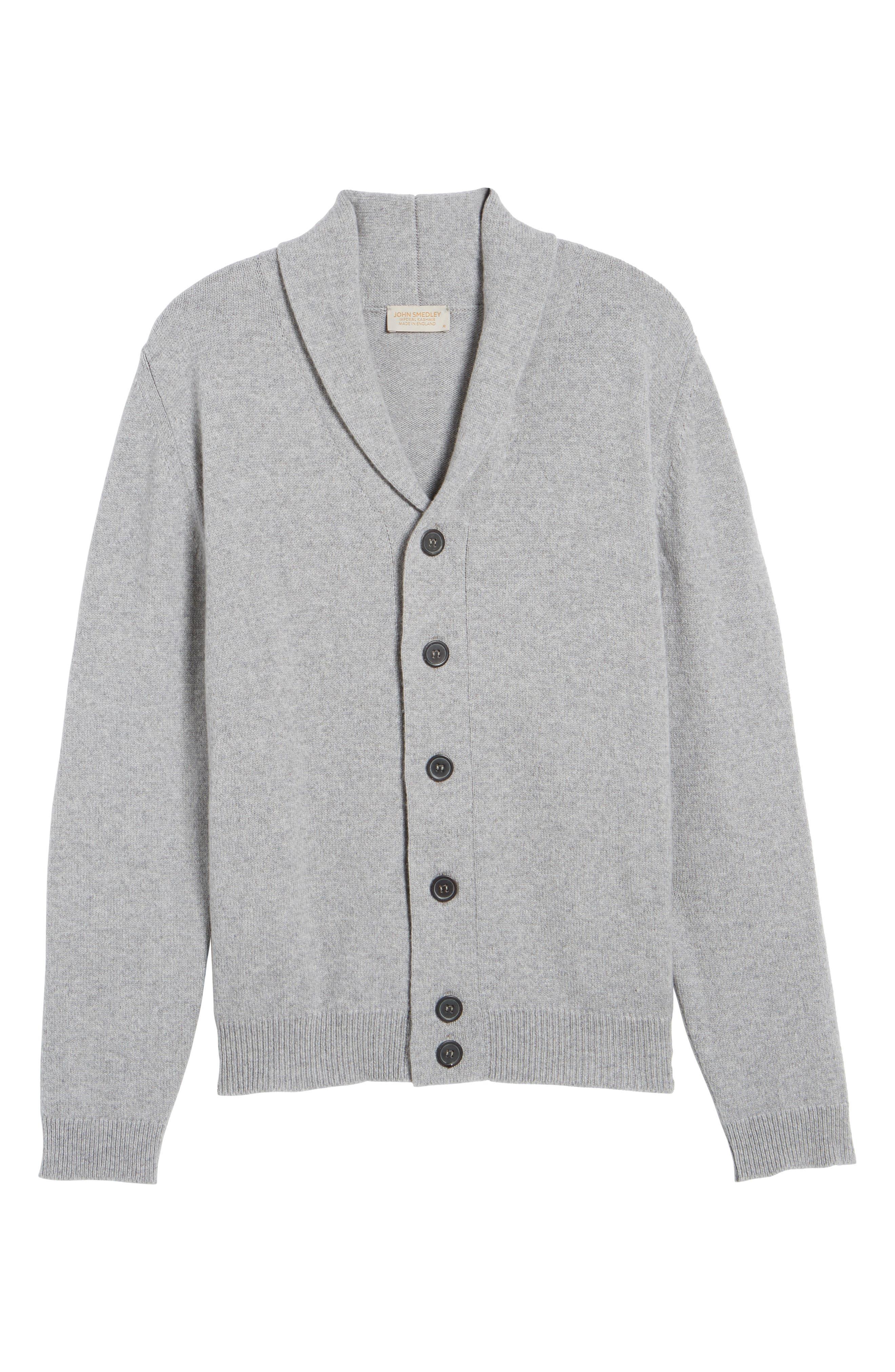 Slim Fit Merino Wool & Cashmere Cardigan,                             Alternate thumbnail 6, color,                             Silver