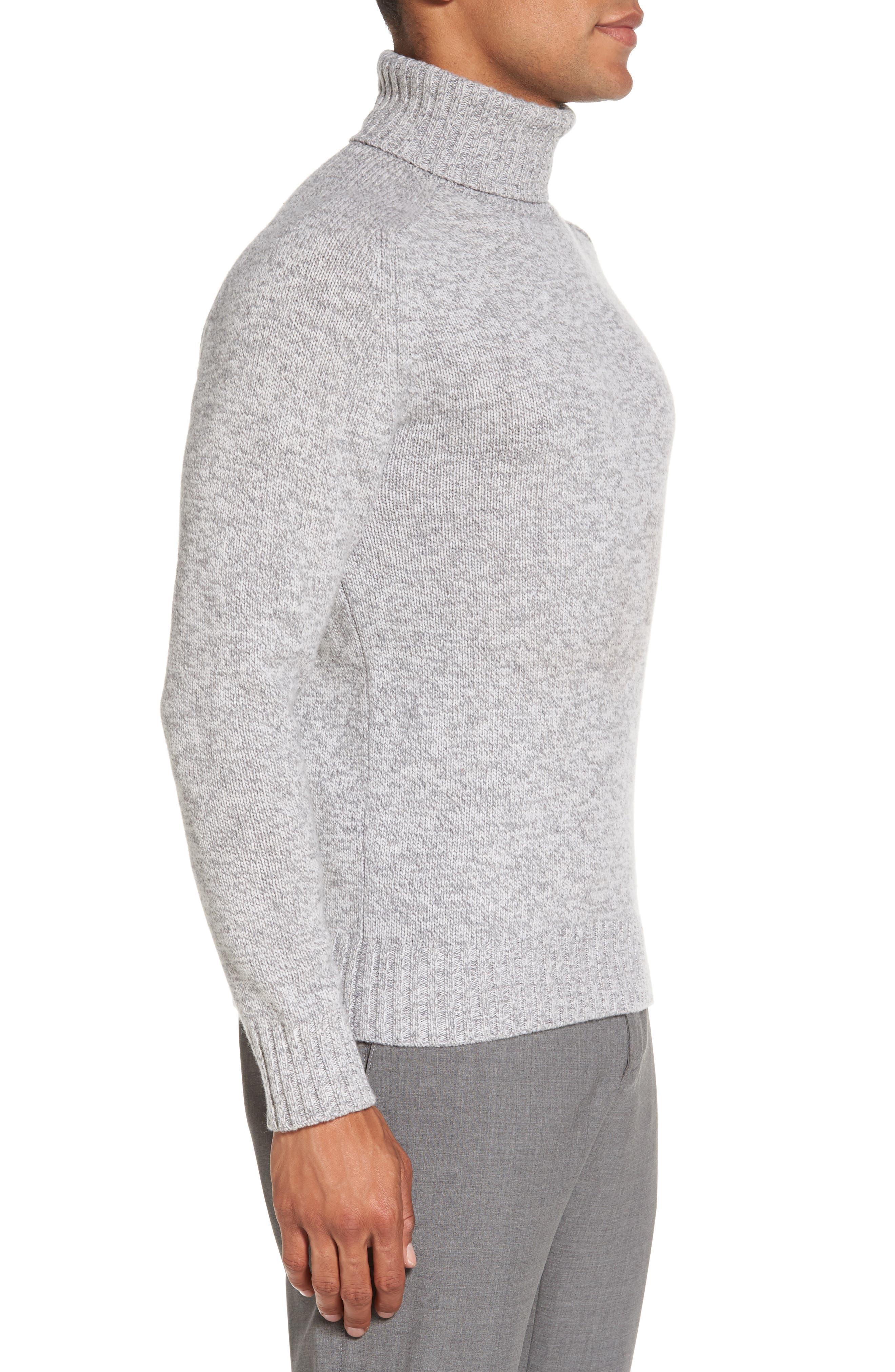 Marled Turtleneck Sweater,                             Alternate thumbnail 3, color,                             Light Grey/ Dark Grey